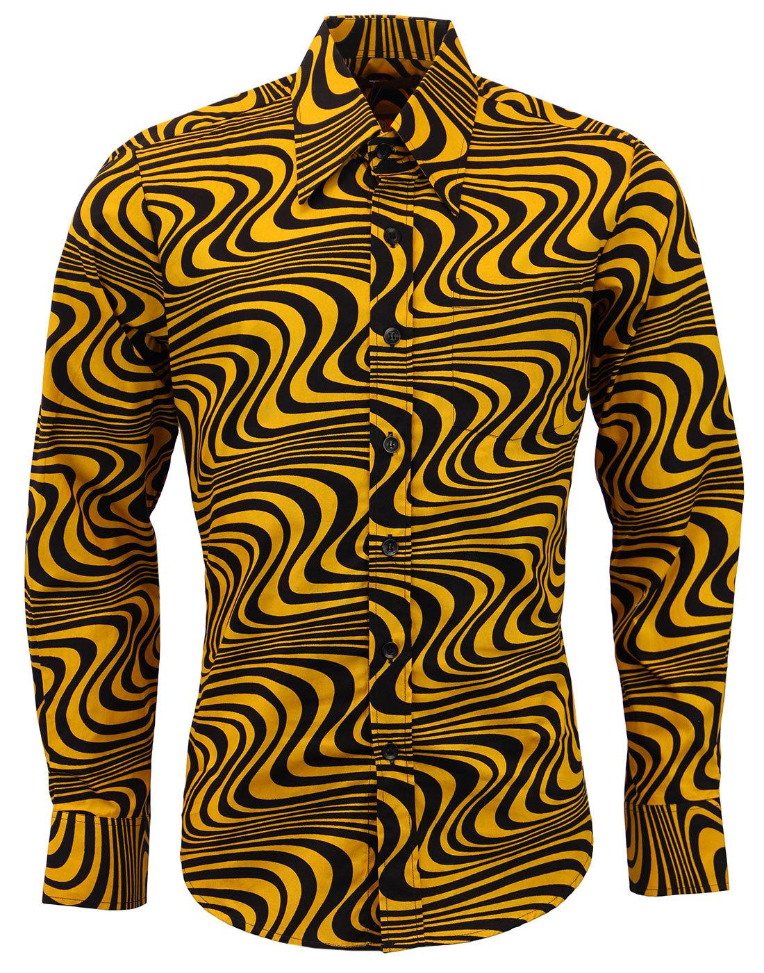 Chenaski retro 70s indie op art wavy mod shirt heatwave chenaski retro 70s mod op art wavy shirt sciox Image collections