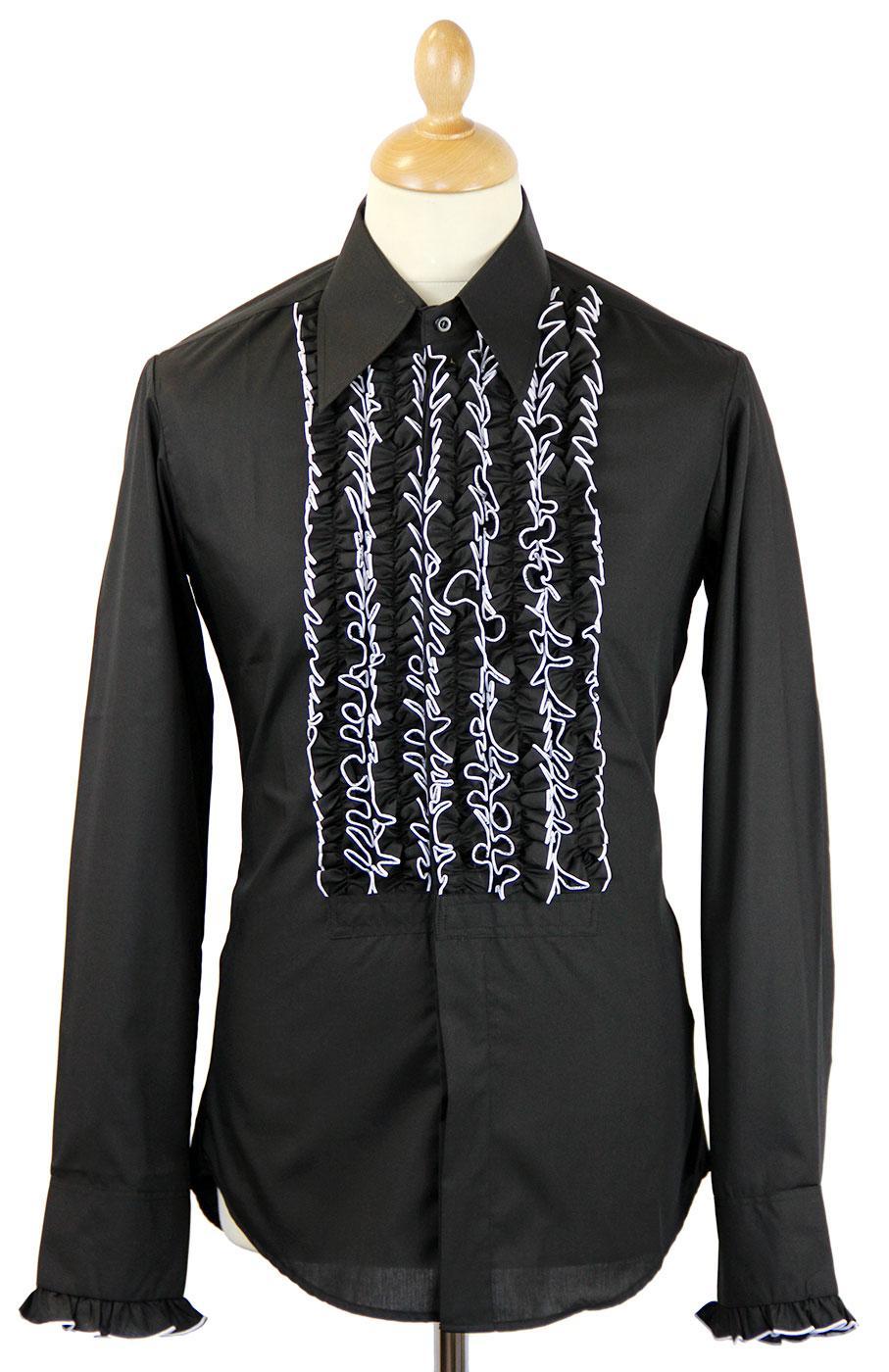 CHENASKI Ruche Frill Retro 70s Tuxedo Shirt (B)