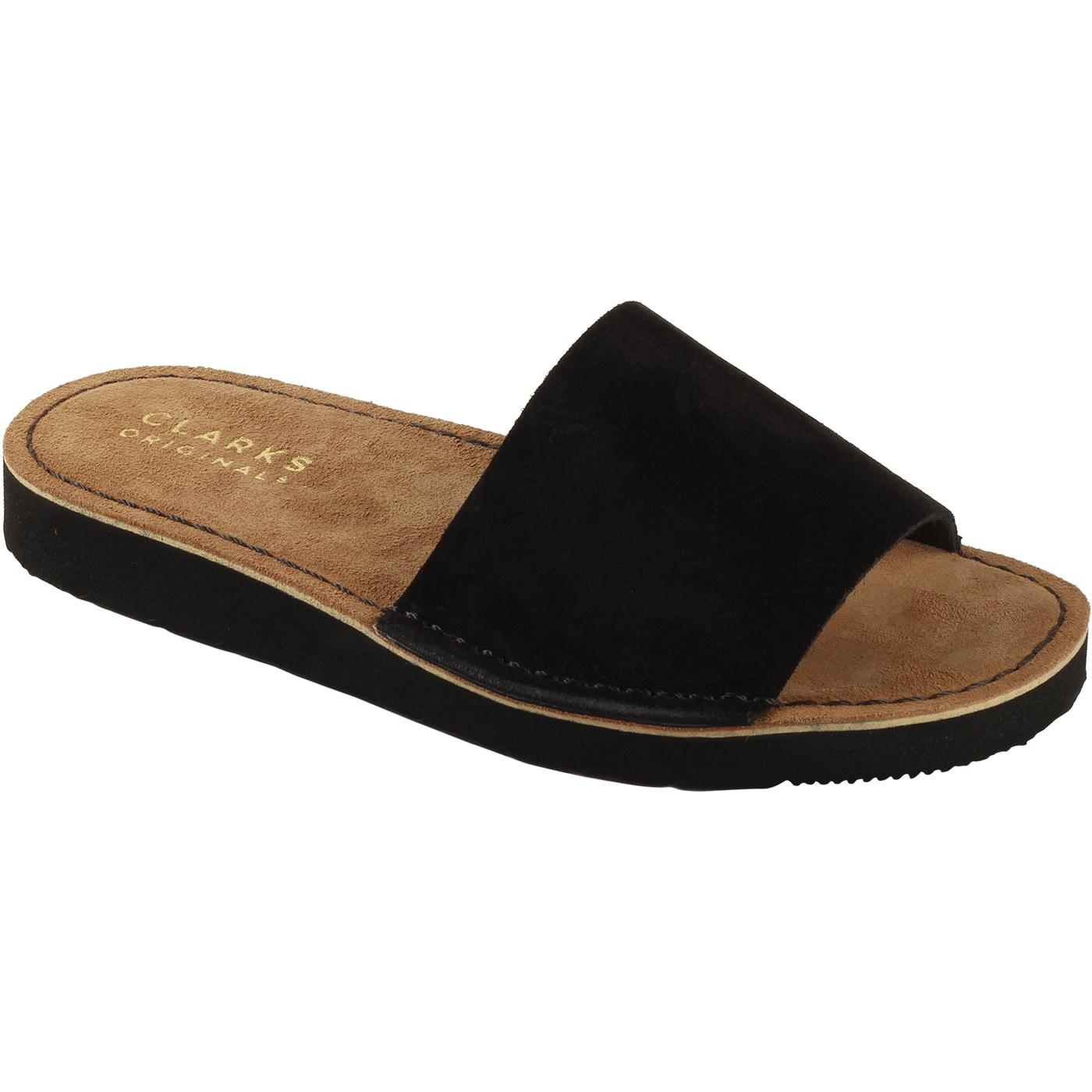 Lunan CLARKS ORIGINALS Retro Suede Slides (Black)