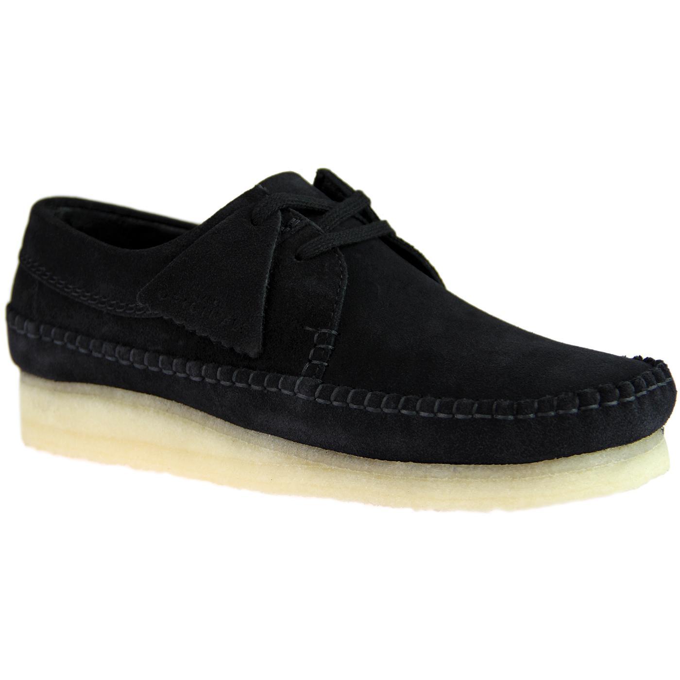 Weaver CLARKS ORIGINALS Suede Moccasin Shoes BLACK