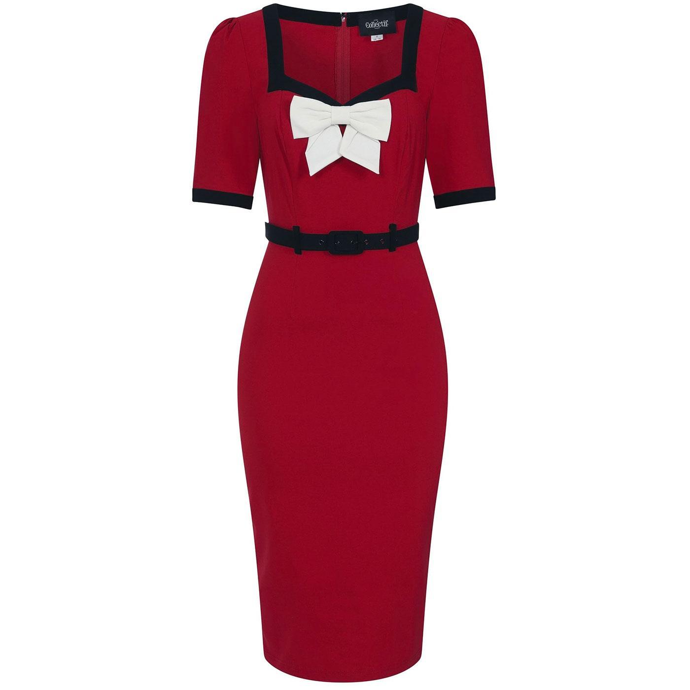 Sadie COLLECTIF Retro 50s Pencil Dress (Red)