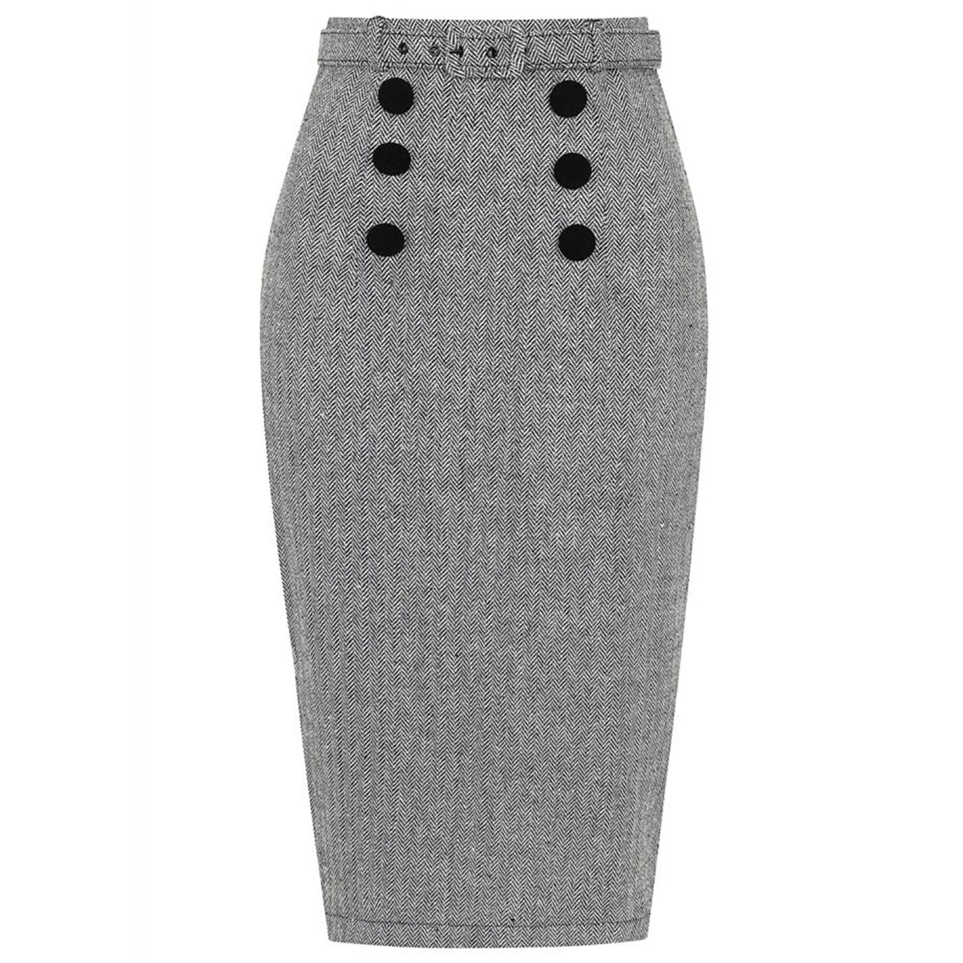 Agatha COLLECTIF Vintage Herringbone Pencil Skirt