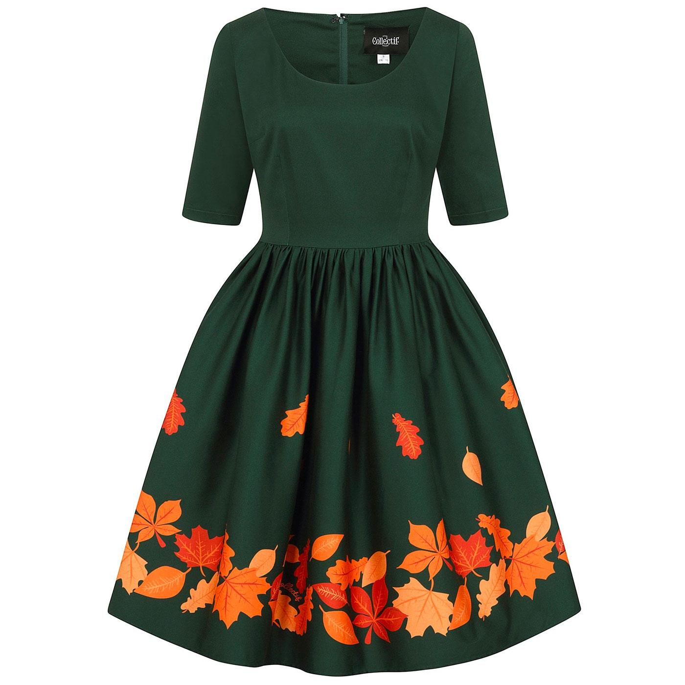 Amber-Lea COLLECTIF Autumn Leaves Swing Dress