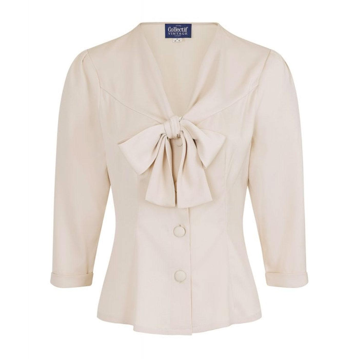 Andra COLLECTIF Plain Vintage 50s Blouse In Cream