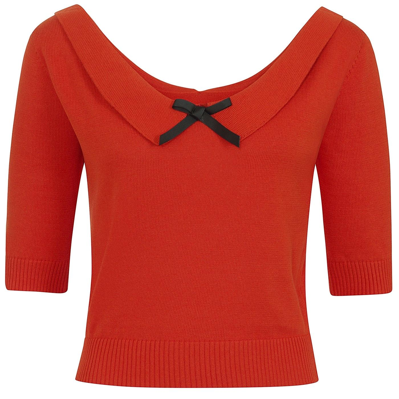 Babette COLLECTIF Retro 50s Knitted Top in Orange