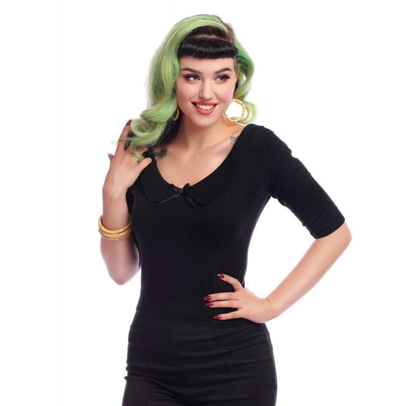Babette COLLECTIF Retro 50s Knitted Black Jumper