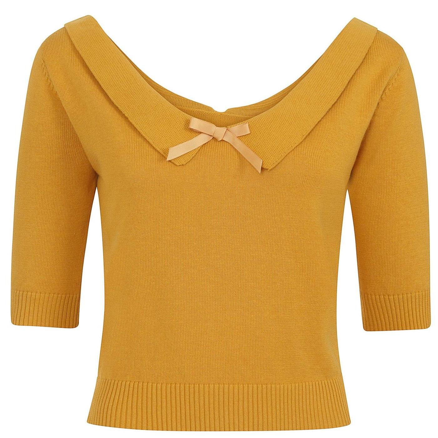 Babette COLLECTIF Retro 50s Knitted Mustard Jumper