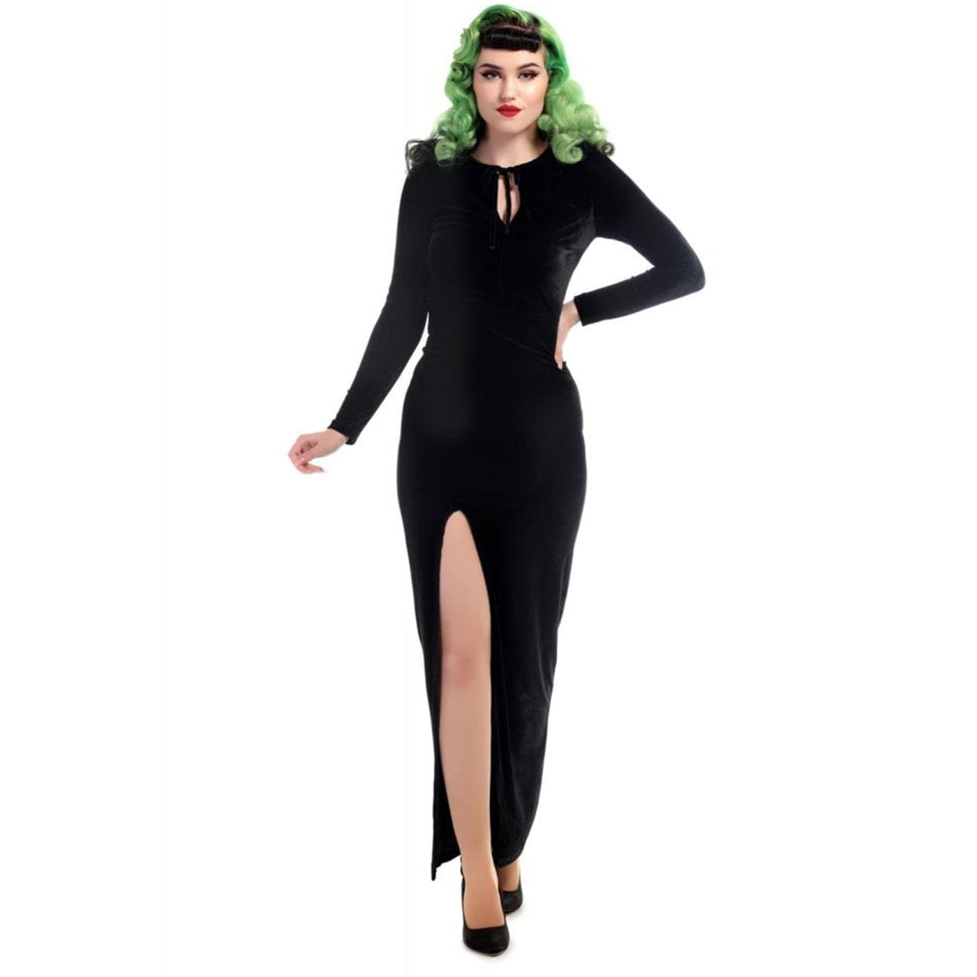 Billa COLLECTIF Retro Black Velvet Vamp Maxi Dress