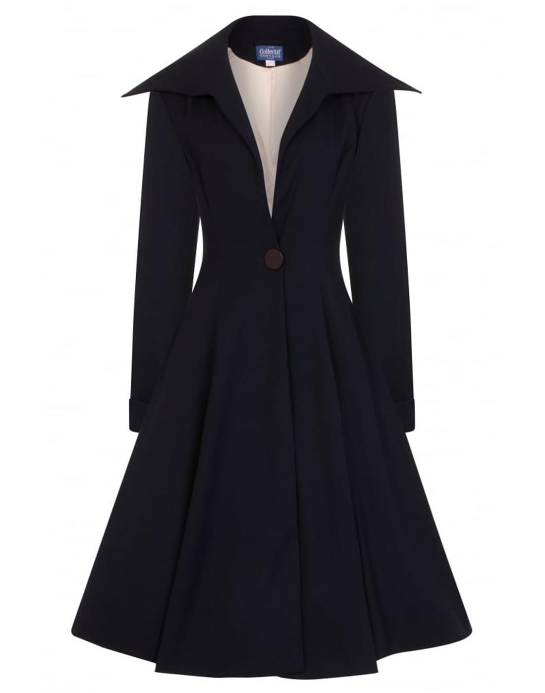 Bobbie COLLECTIF 1950's Vintage Swing Coat in Navy
