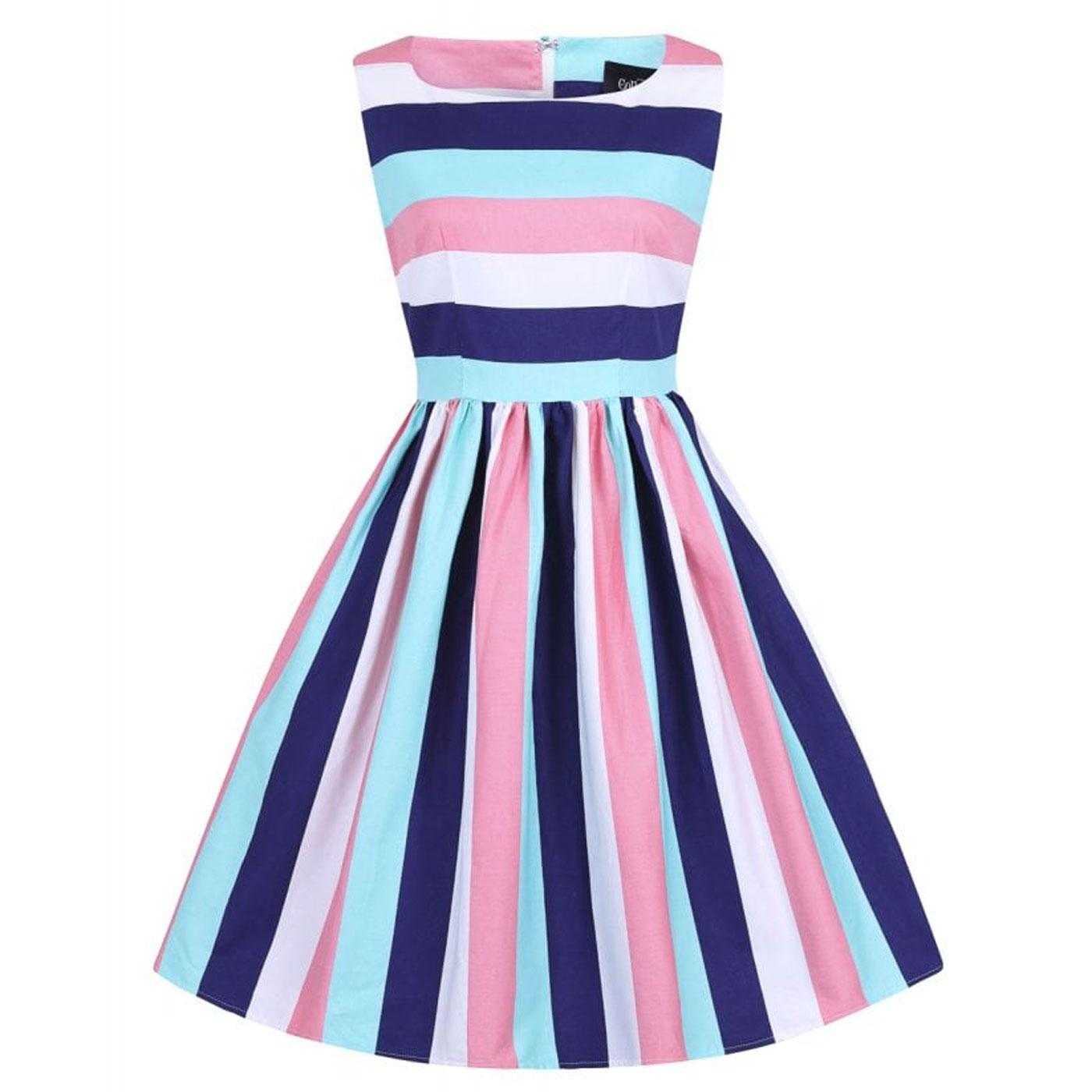 Candice COLLECTIF Retro Seaside Stripe Swing Dress