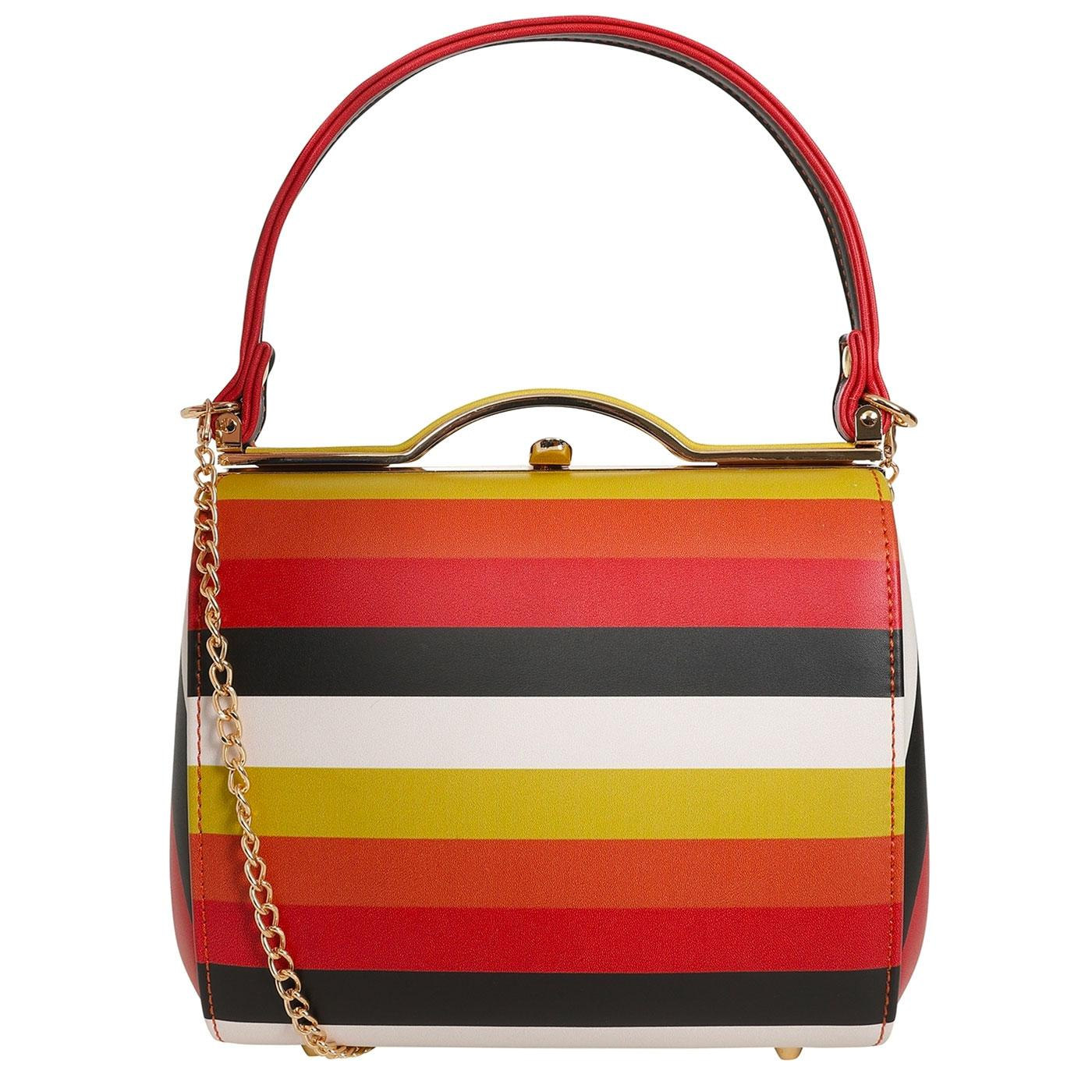 Carrie COLLECTIF Vintage 50s Style Striped Handbag