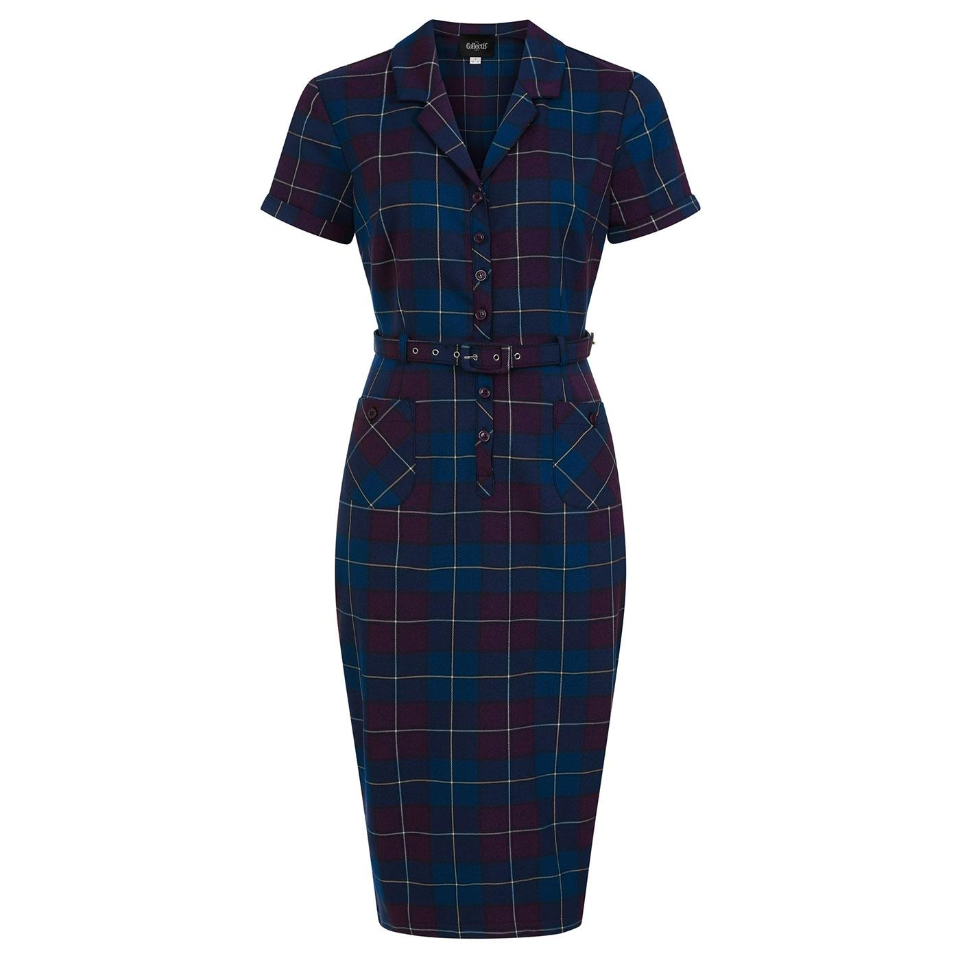 Caterina COLLECTIF 50s Mermaid Check Pencil Dress