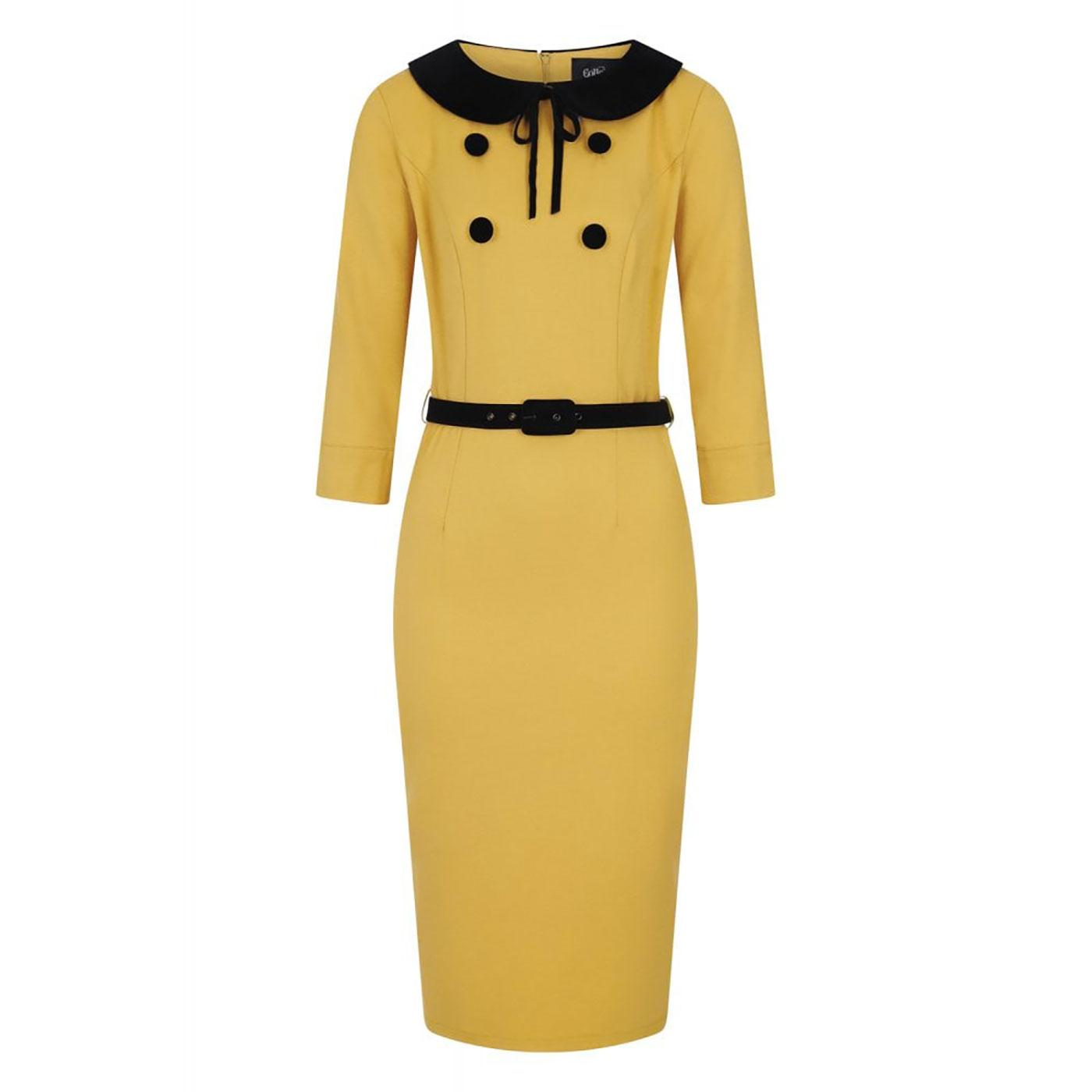 Christine COLLECTIF 1950s Pencil Dress In Mustard