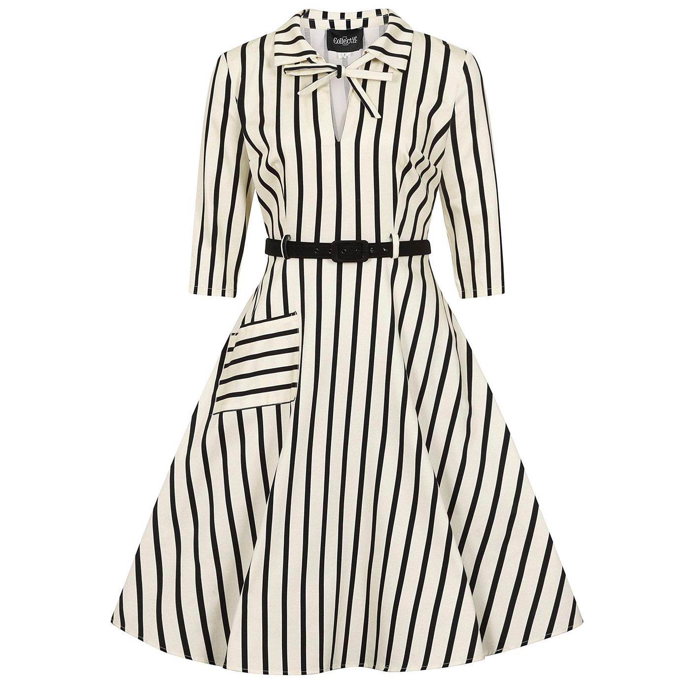 Darcey COLLECTIF Retro Ghost Stripes Swing Dress