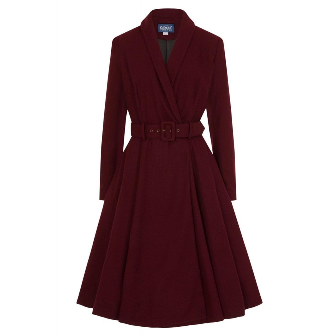 Dawn COLLECTIF Vintage 1950s Swing Coat In Wine