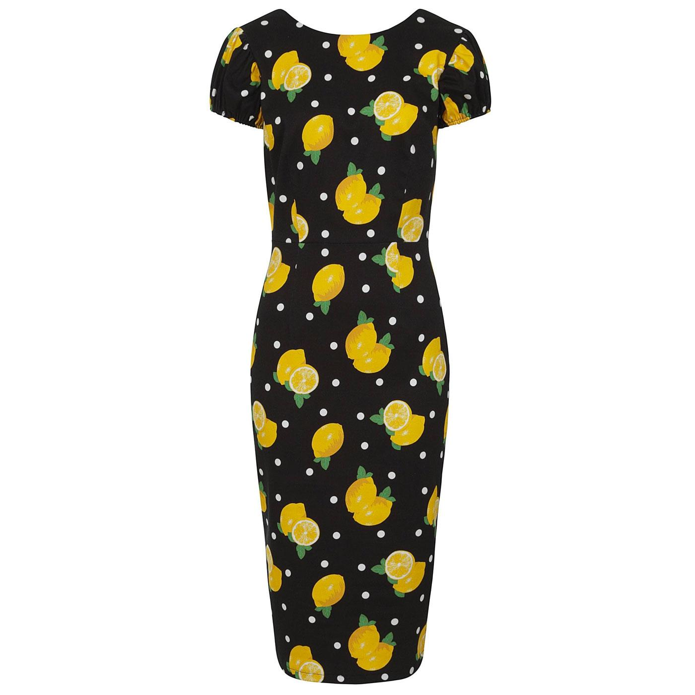 Demira COLLECTIF Polka Lemon Print Pencil Dress