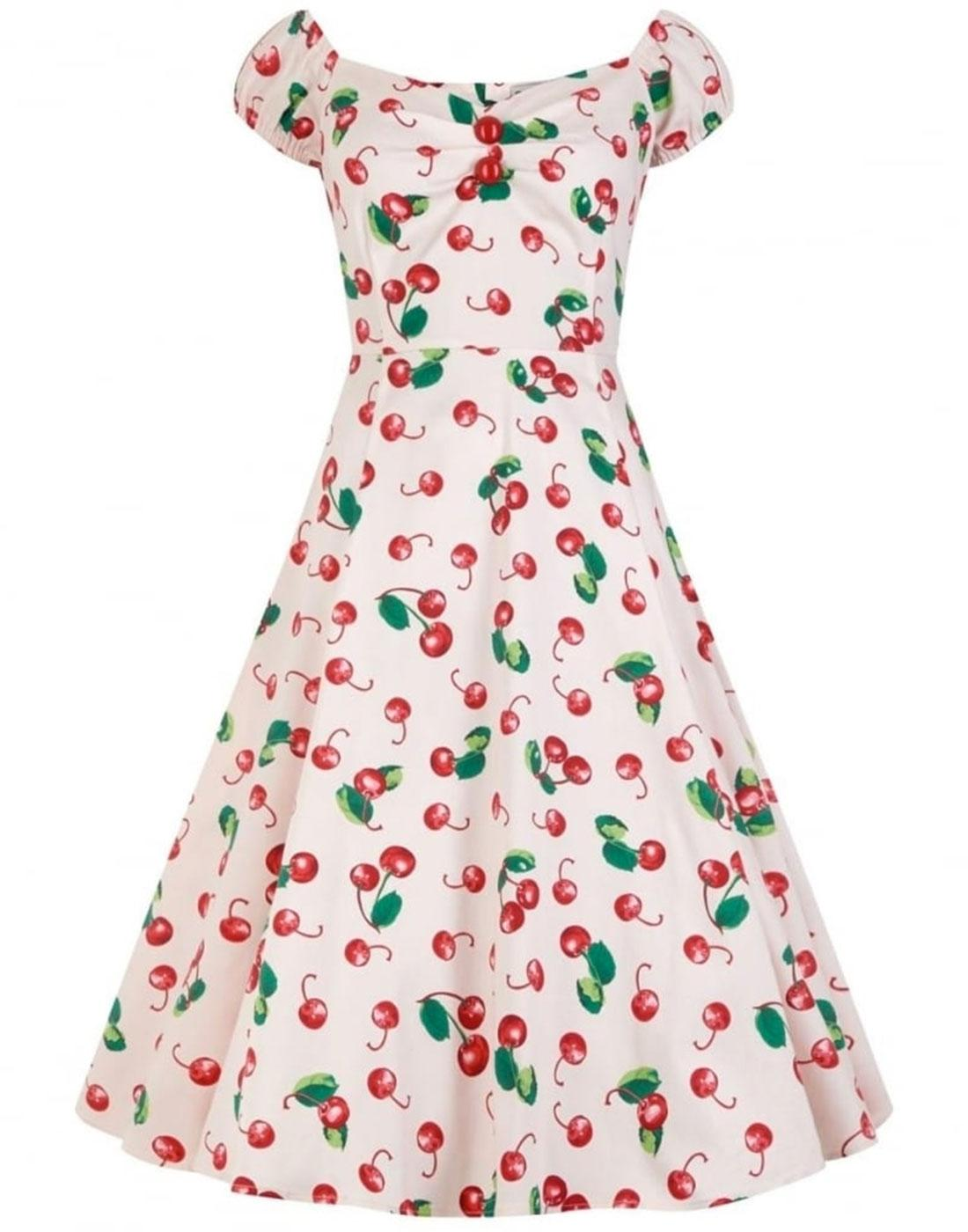 Dolores COLLECTIF Cherry Print Doll Dress Ivory