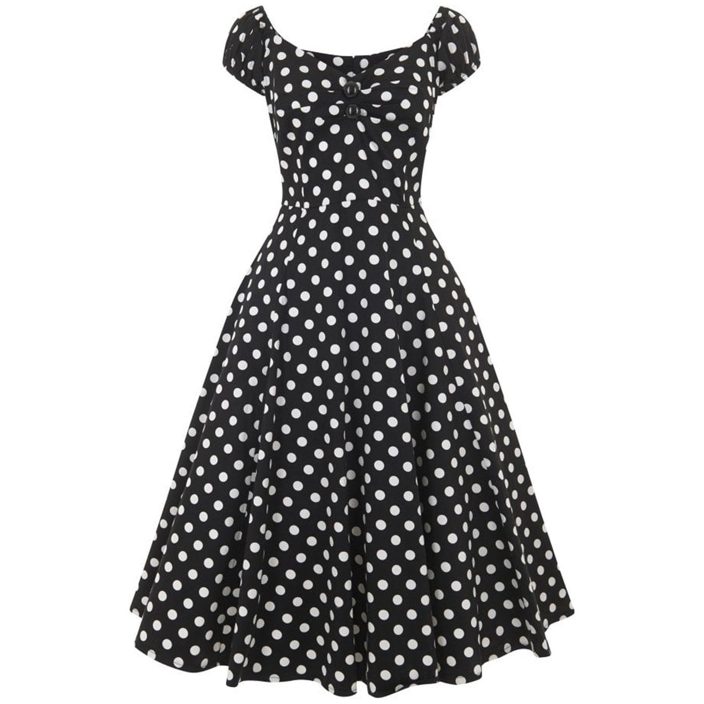 Dolores COLLECTIF 1950s Black Polka Dot Doll Dress
