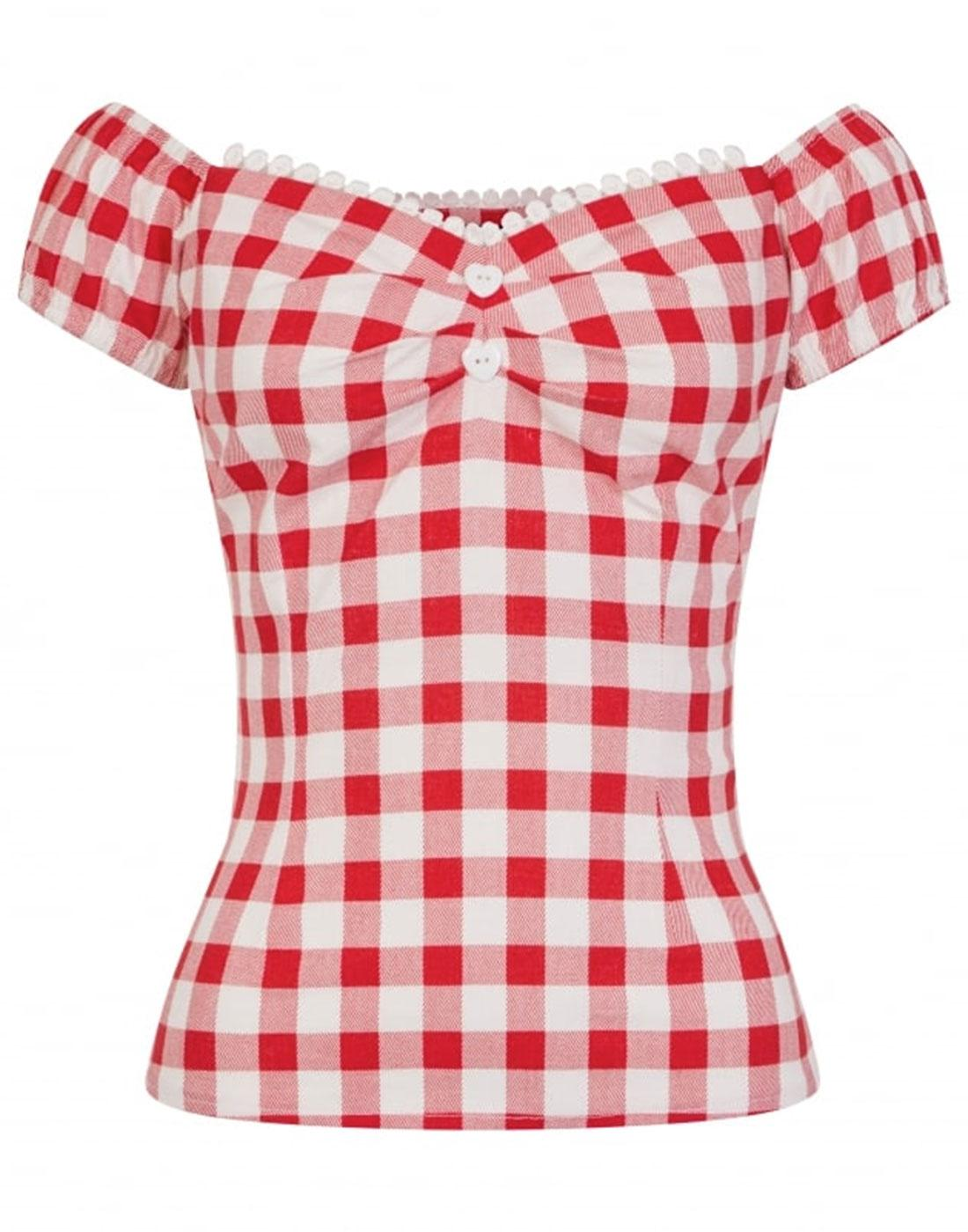 Dolores COLLECTIF Vintage 50s Gingham Top Red