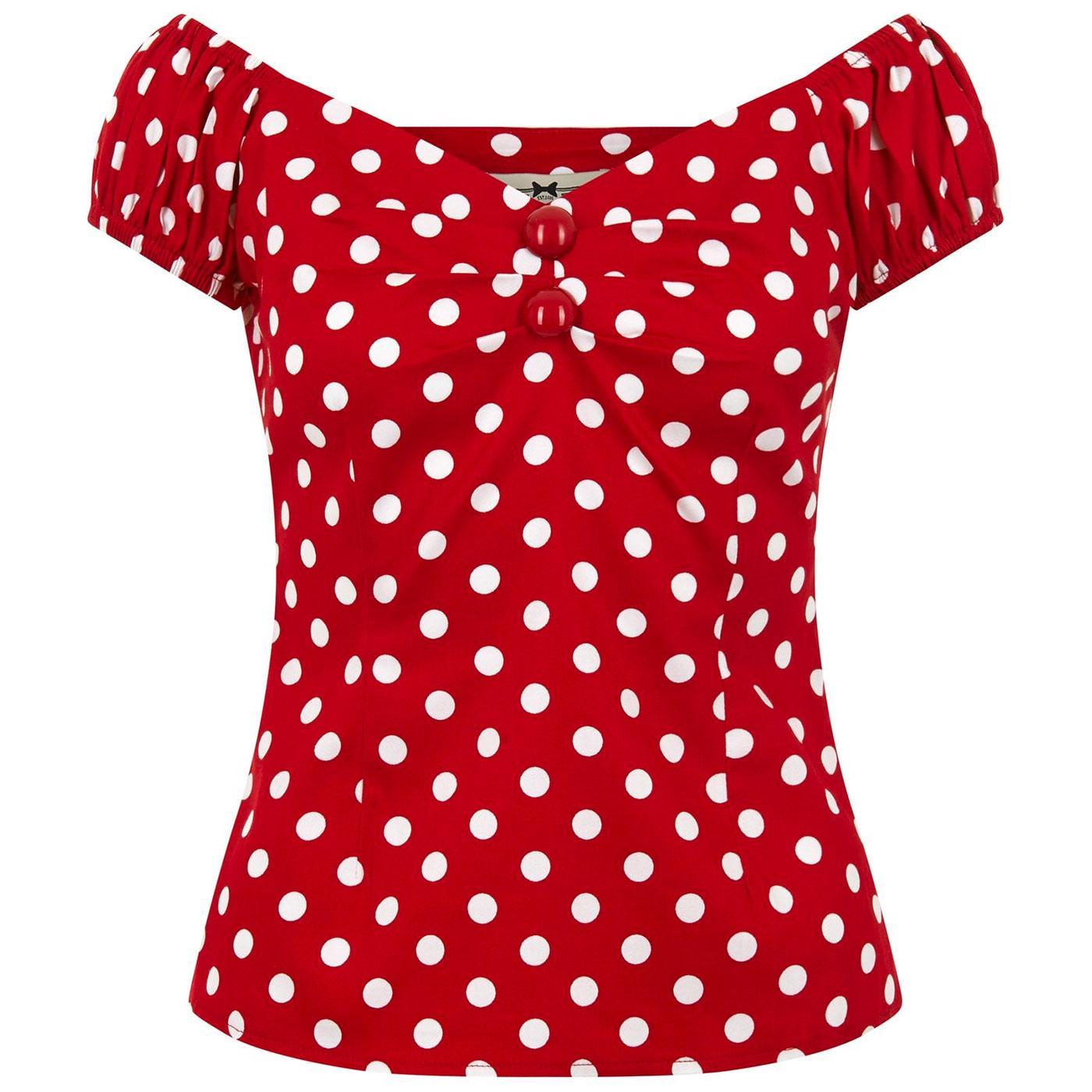 Dolores COLLECTIF Retro 50s Polka Dot Top (Red)