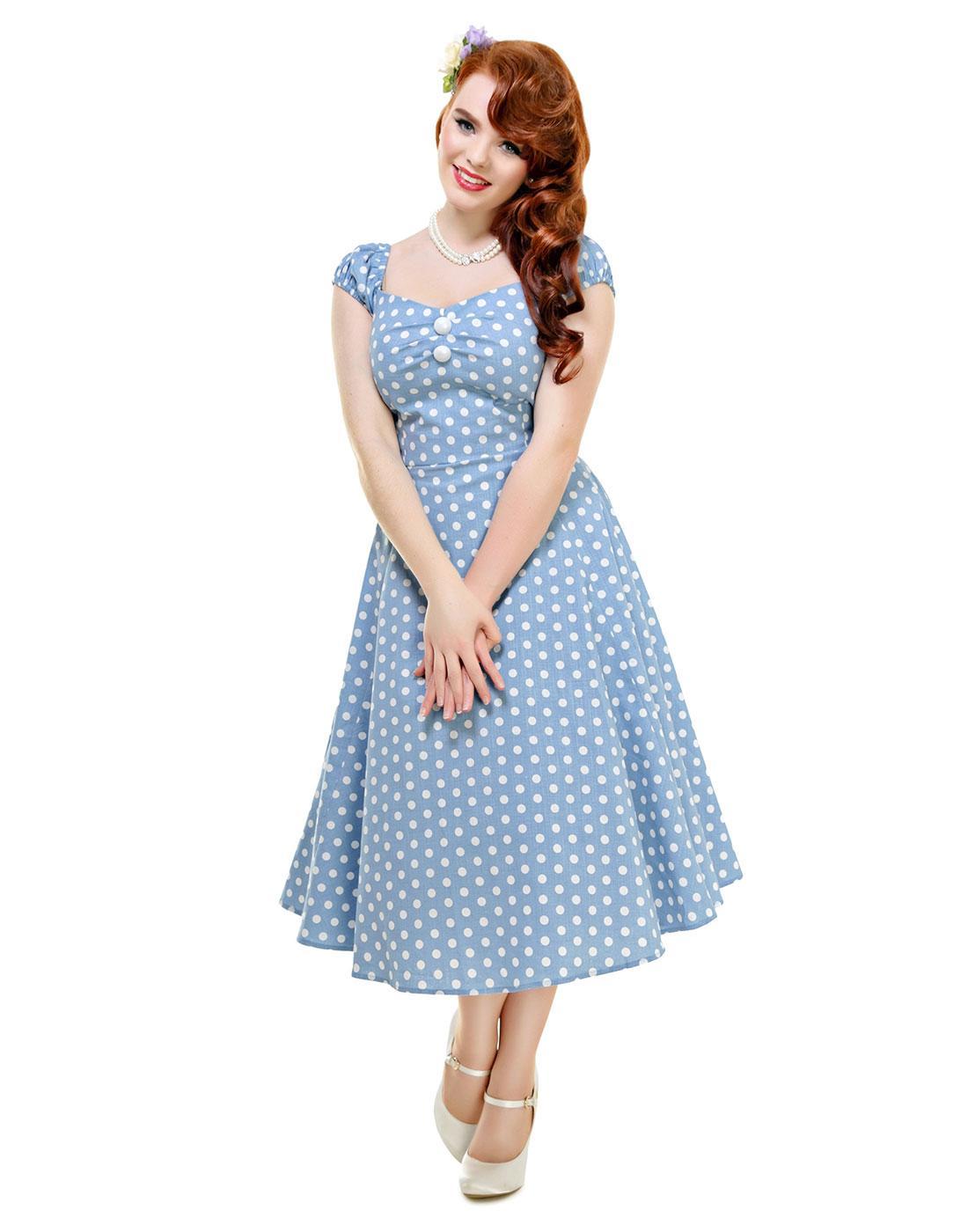 collectif dolores vintage polka dot doll dress dusky blue
