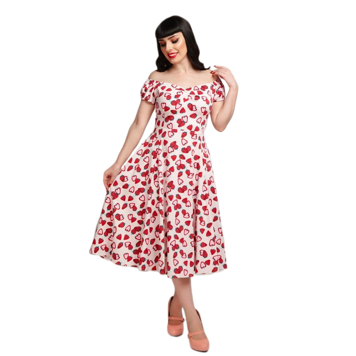 Dolores COLLECTIF Strawberry Print 50s Swing Dress