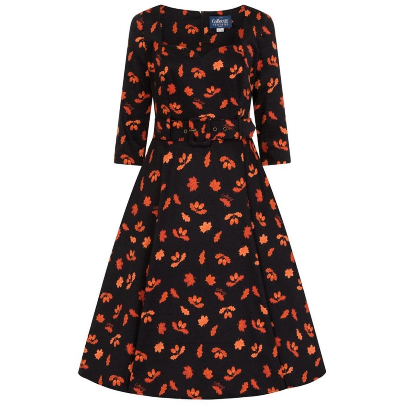 Eliana COLLECTIF Retro 50s Acorn Print Swing Dress