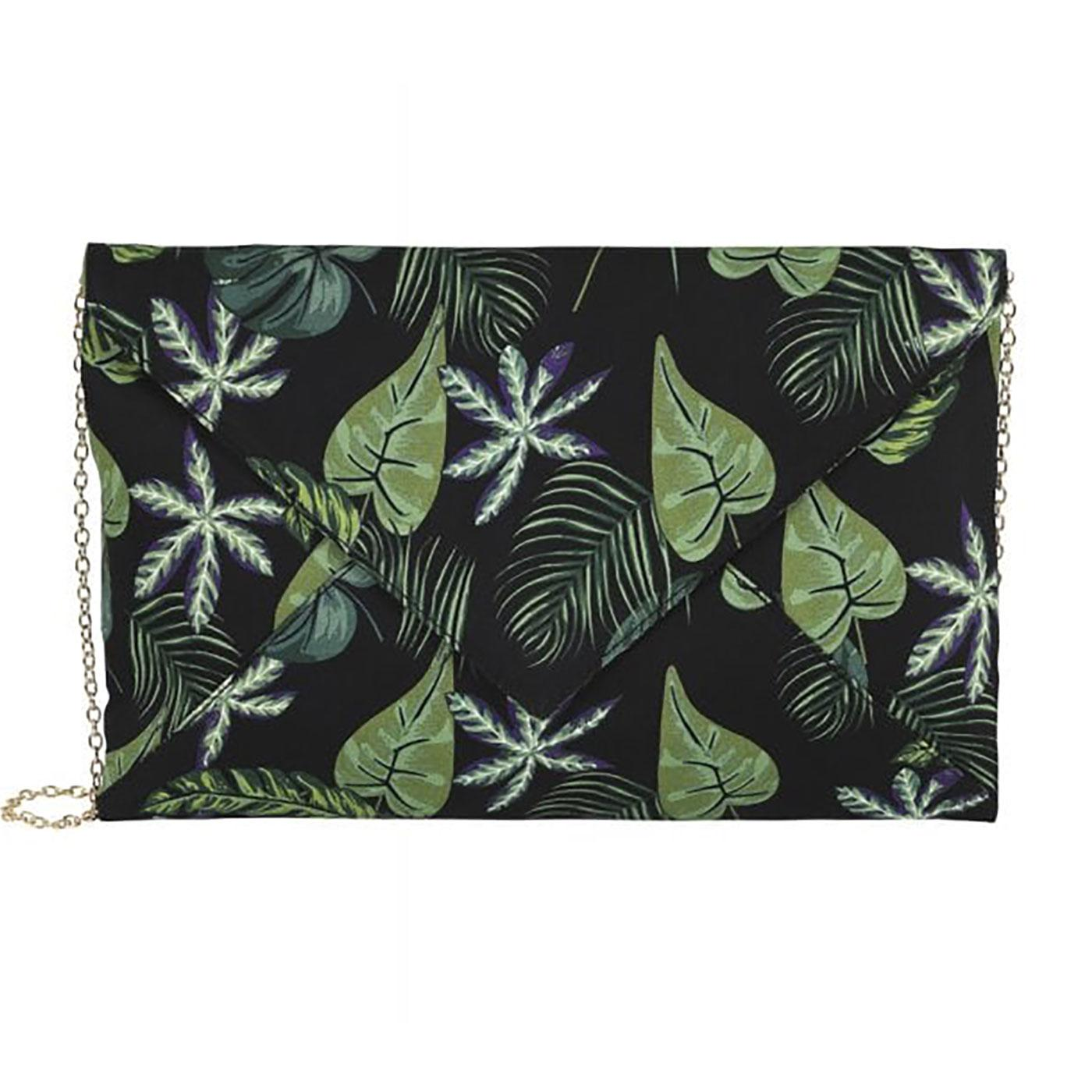 Esty COLLECTIF Black Forest Leaf Print Clutch Bag