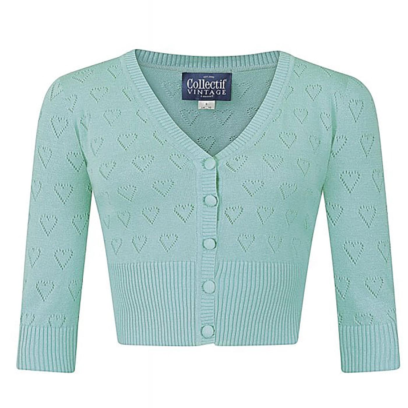 Evie COLLECTIF Retro 50s Heart Knit Cardigan Green