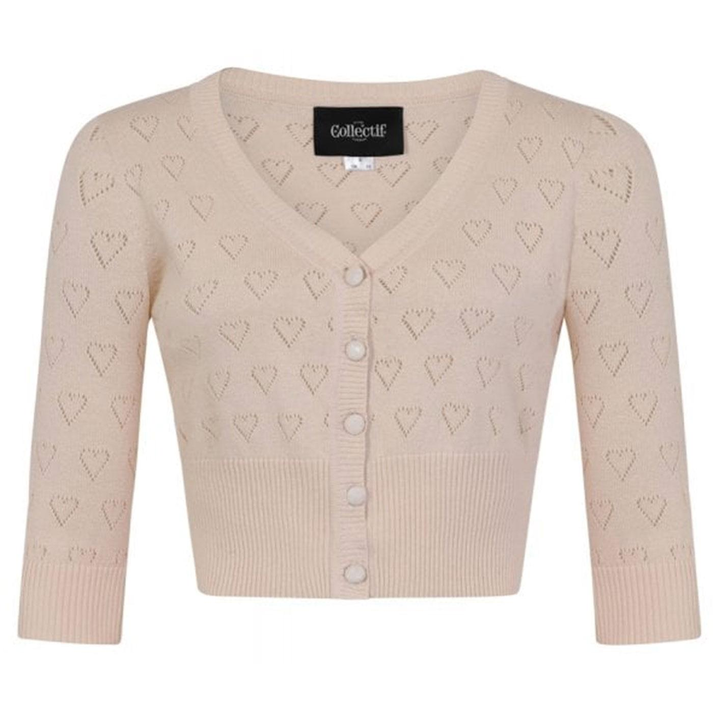Evie COLLECTIF Retro 50s Heart Knit Cardigan Cream