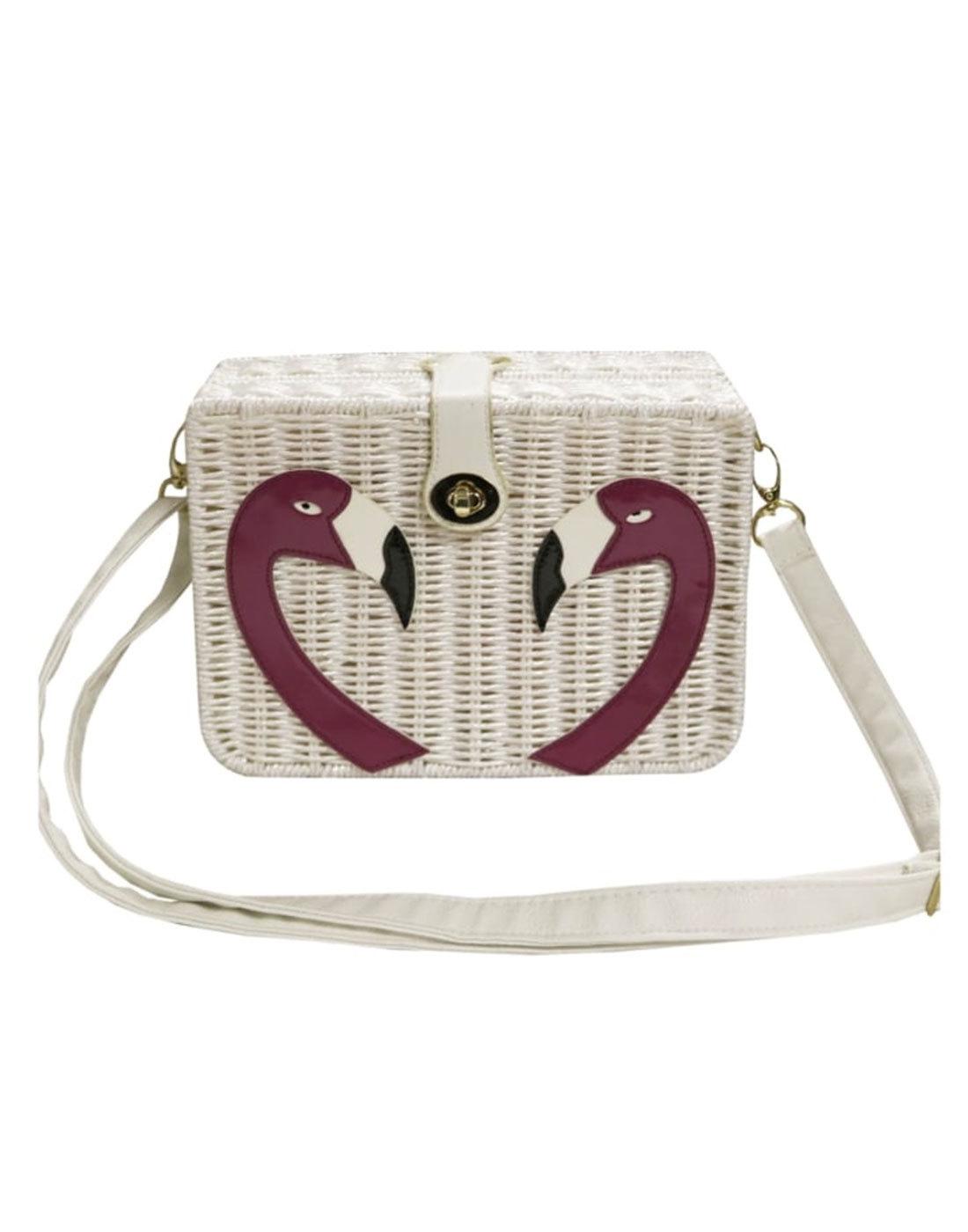 Fancy Flamingo COLLECTIF Retro 50s Basket Handbag