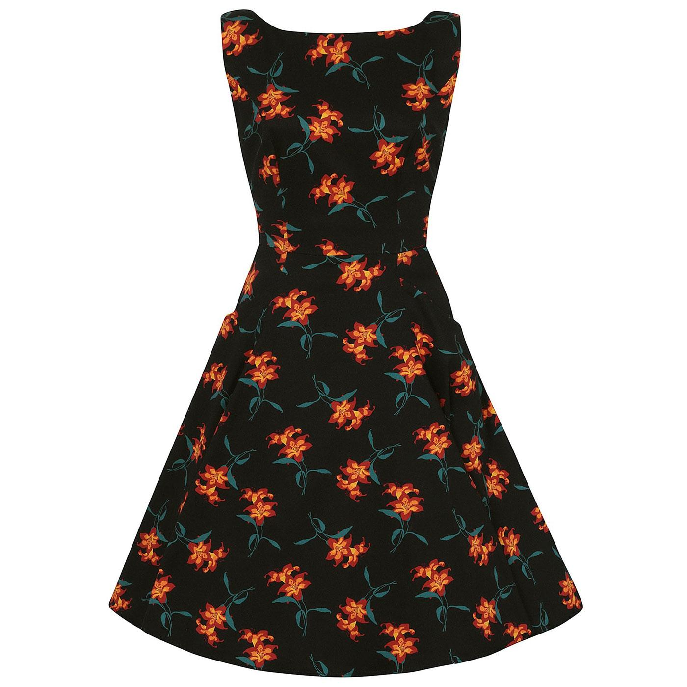 Hepburn COLLECTIF Retro 50s Dress in Midnight Lily