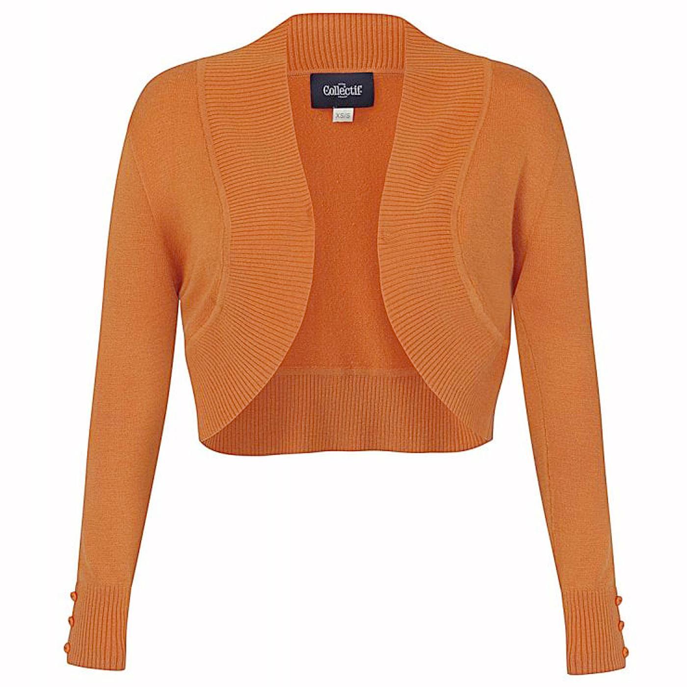 Jean COLLECTIF Vintage 50s Bolero Cardigan Orange