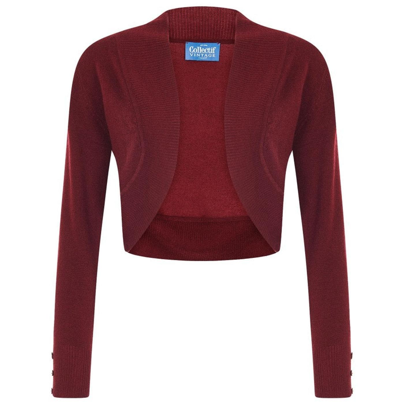 Jean COLLECTIF Vintage 50s Bolero Cardigan in Wine