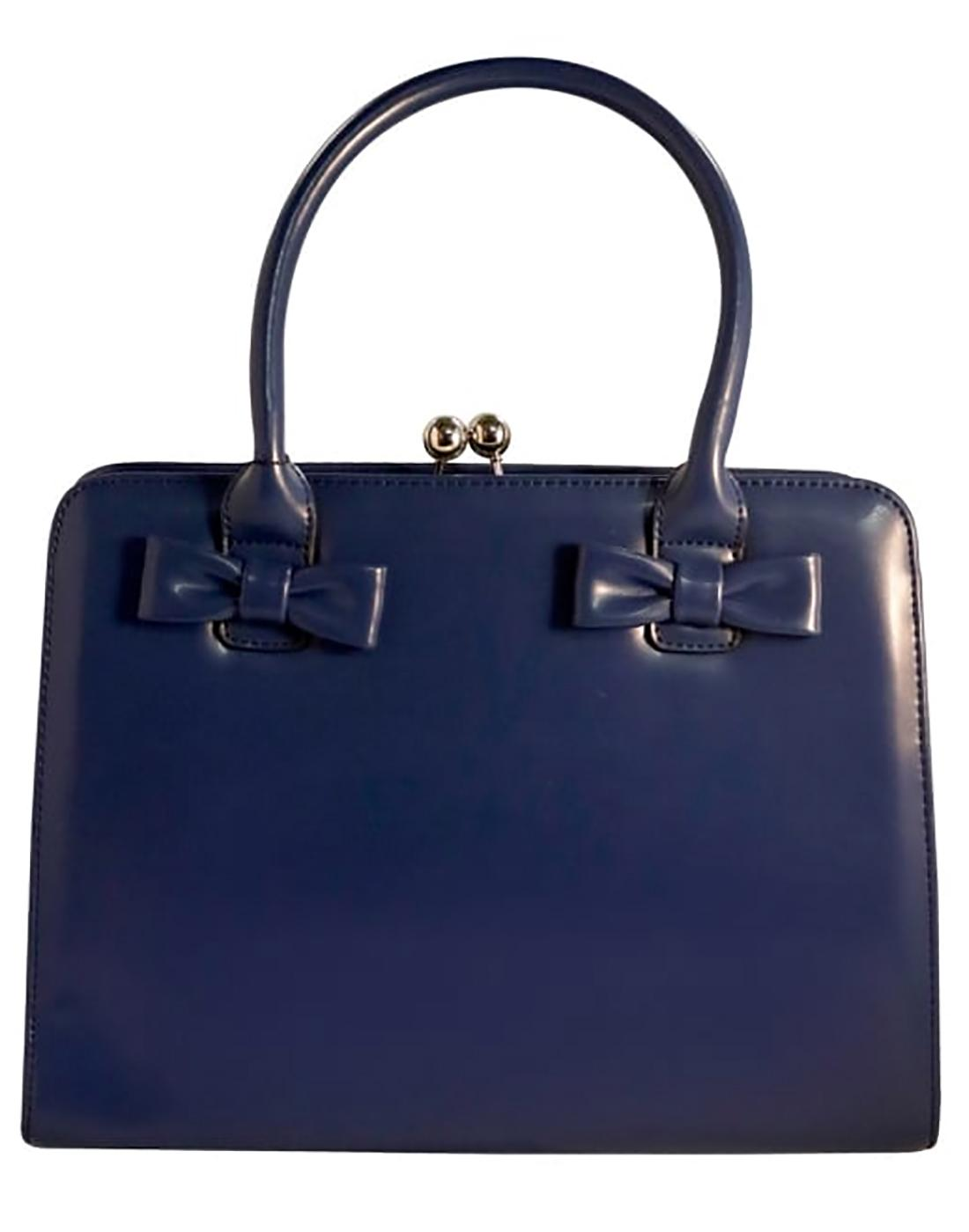 Jessica COLLECTIF Retro 1950s Bow Handbag in Navy