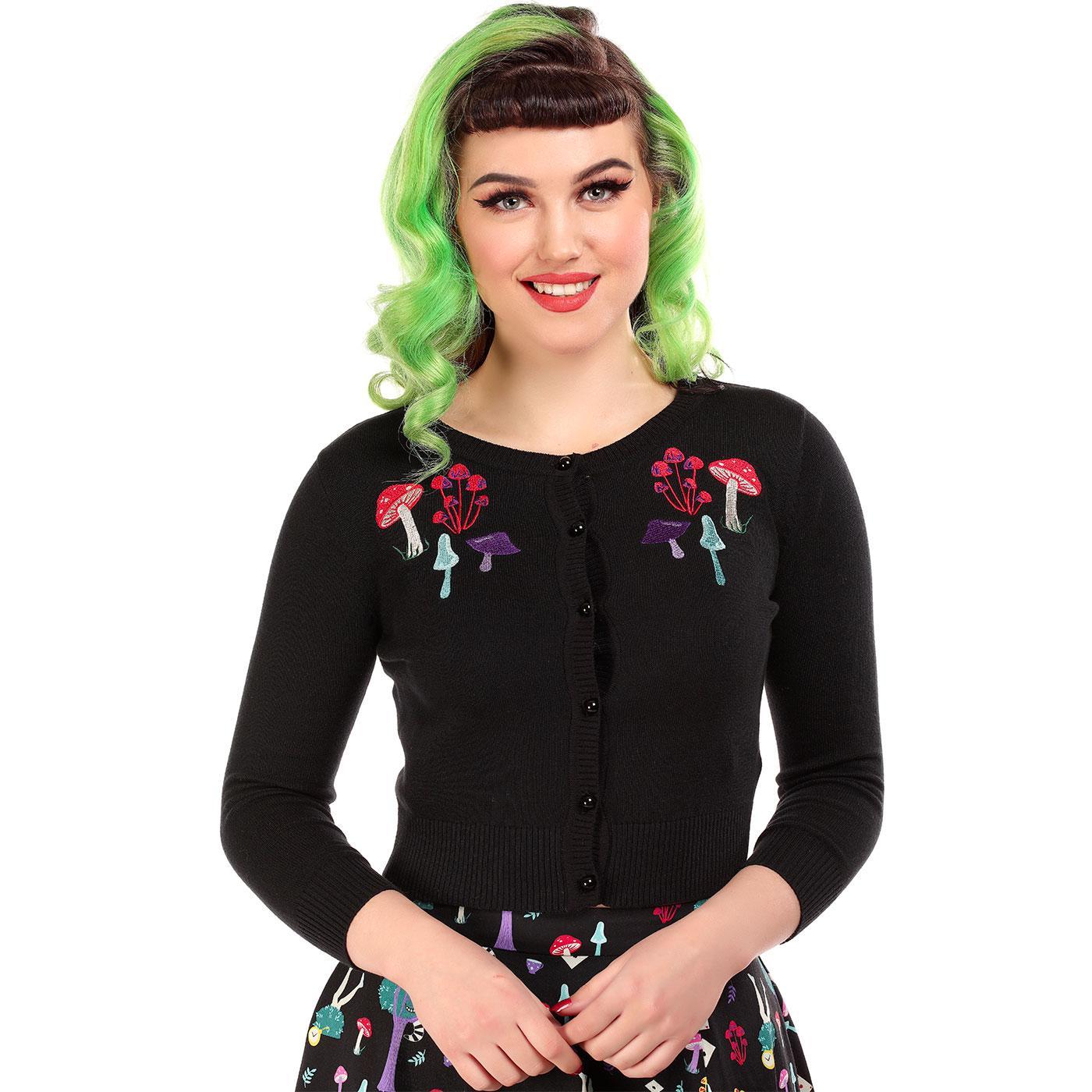 Jessie COLLECTIF Retro Mushrooms Knitted Cardigan