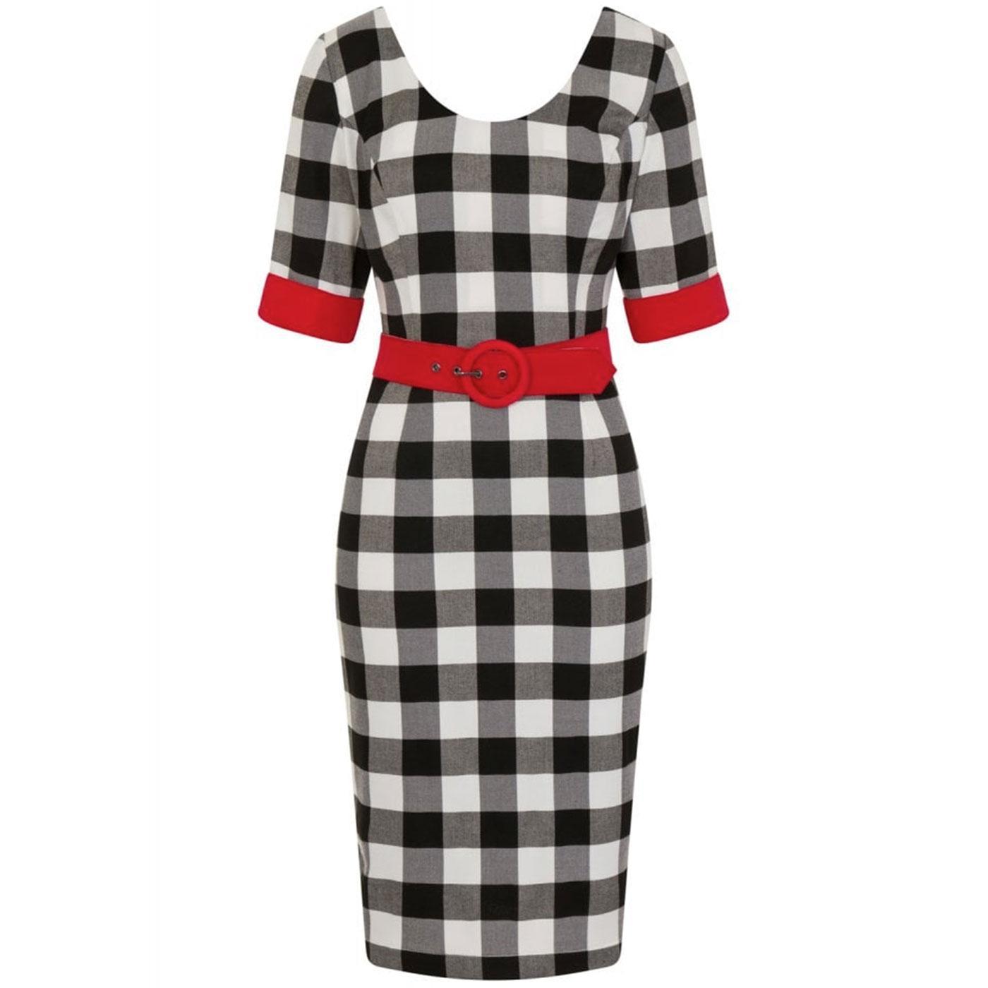 June COLLECTIF Vintage Gingham Pencil Dress B/W
