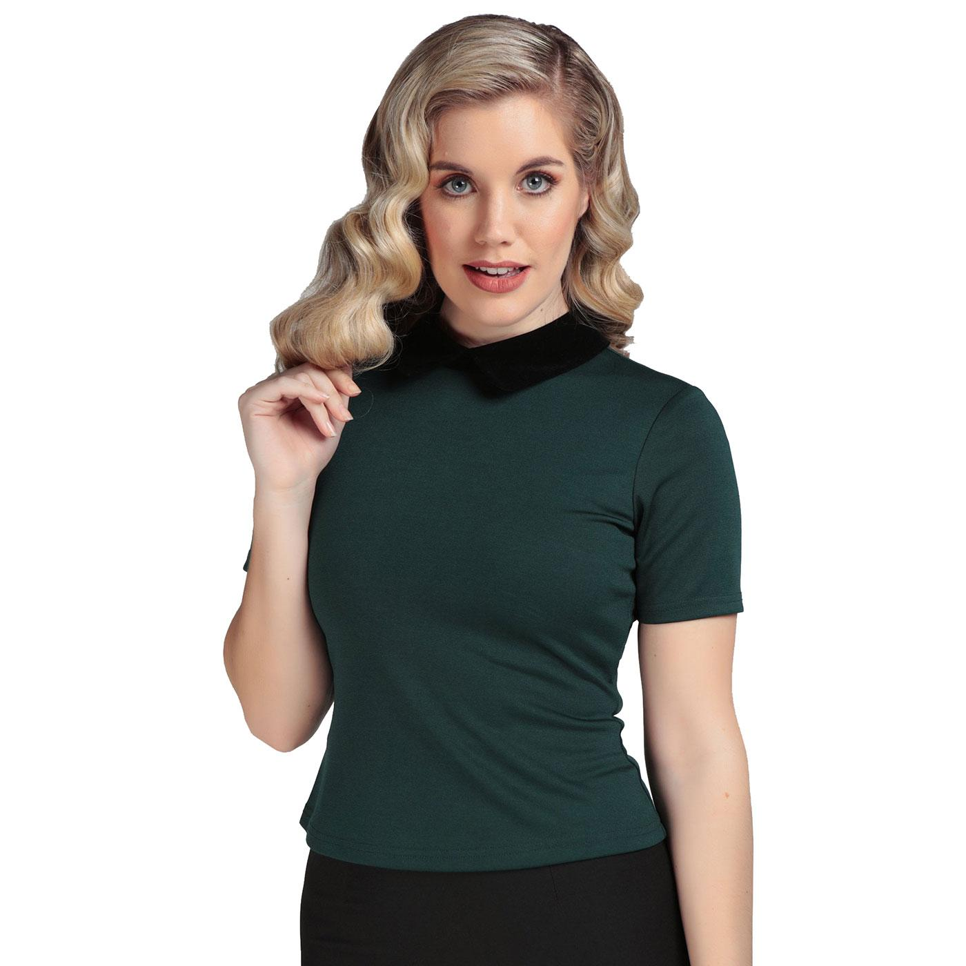 Katy COLLECTIF Peter Pan Collar Mod Top In Green