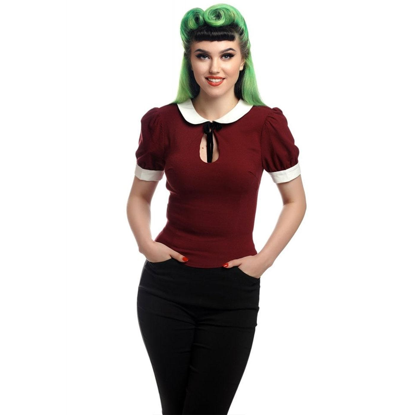 Khloe COLLECTIF Retro Keyhole Peter Pan Top in Red