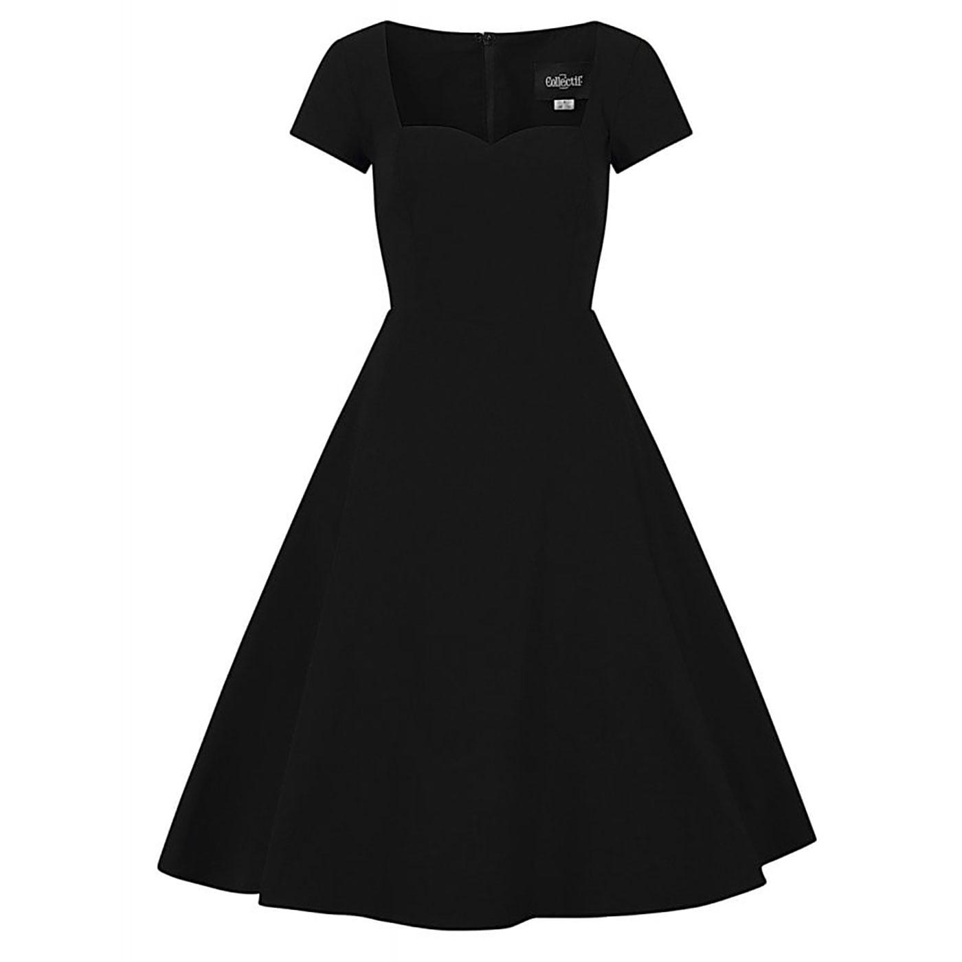 Kristy COLLECTIF Vintage Plain 1950s Swing Dress