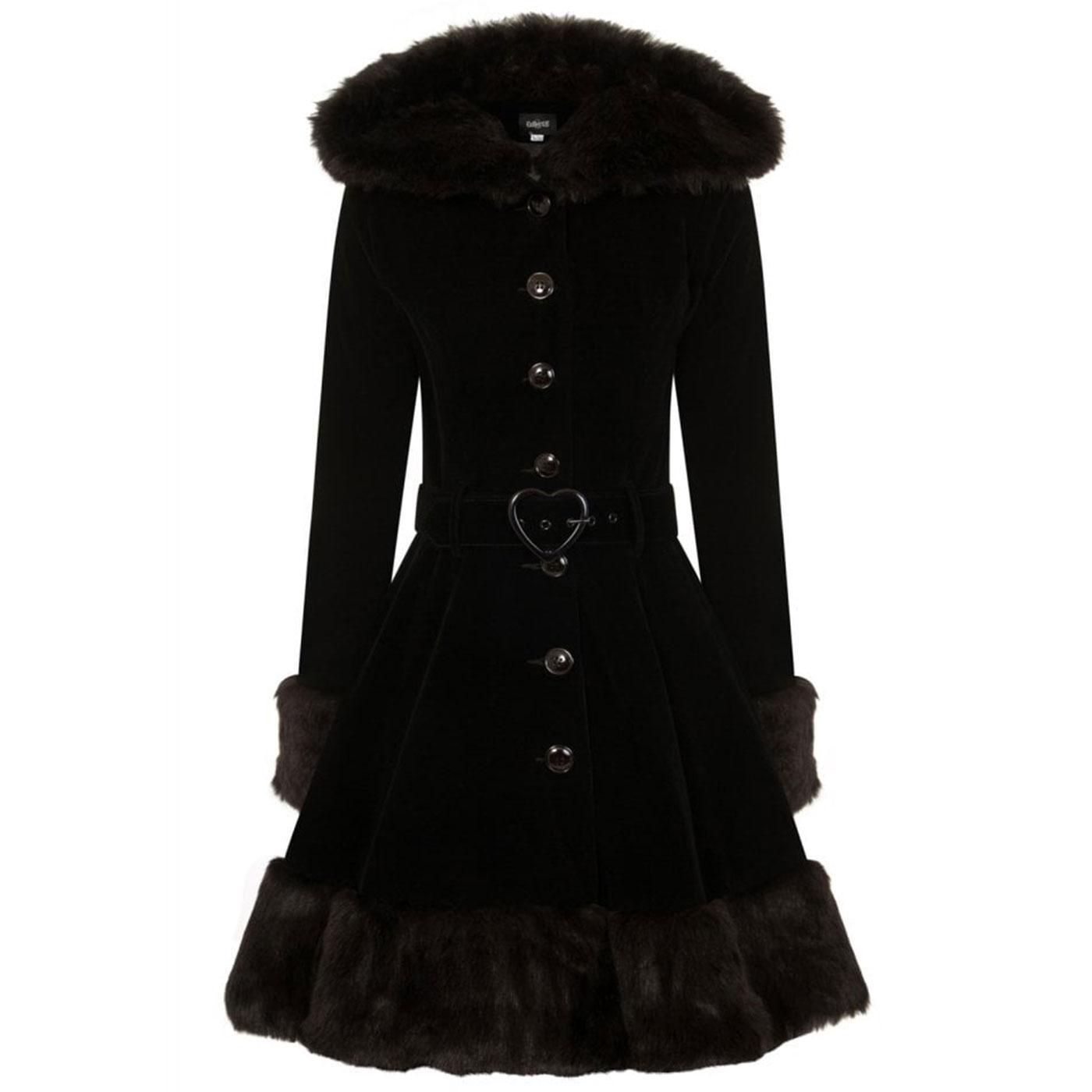 Laila COLLECTIF Retro Hooded Short Velvet Coat