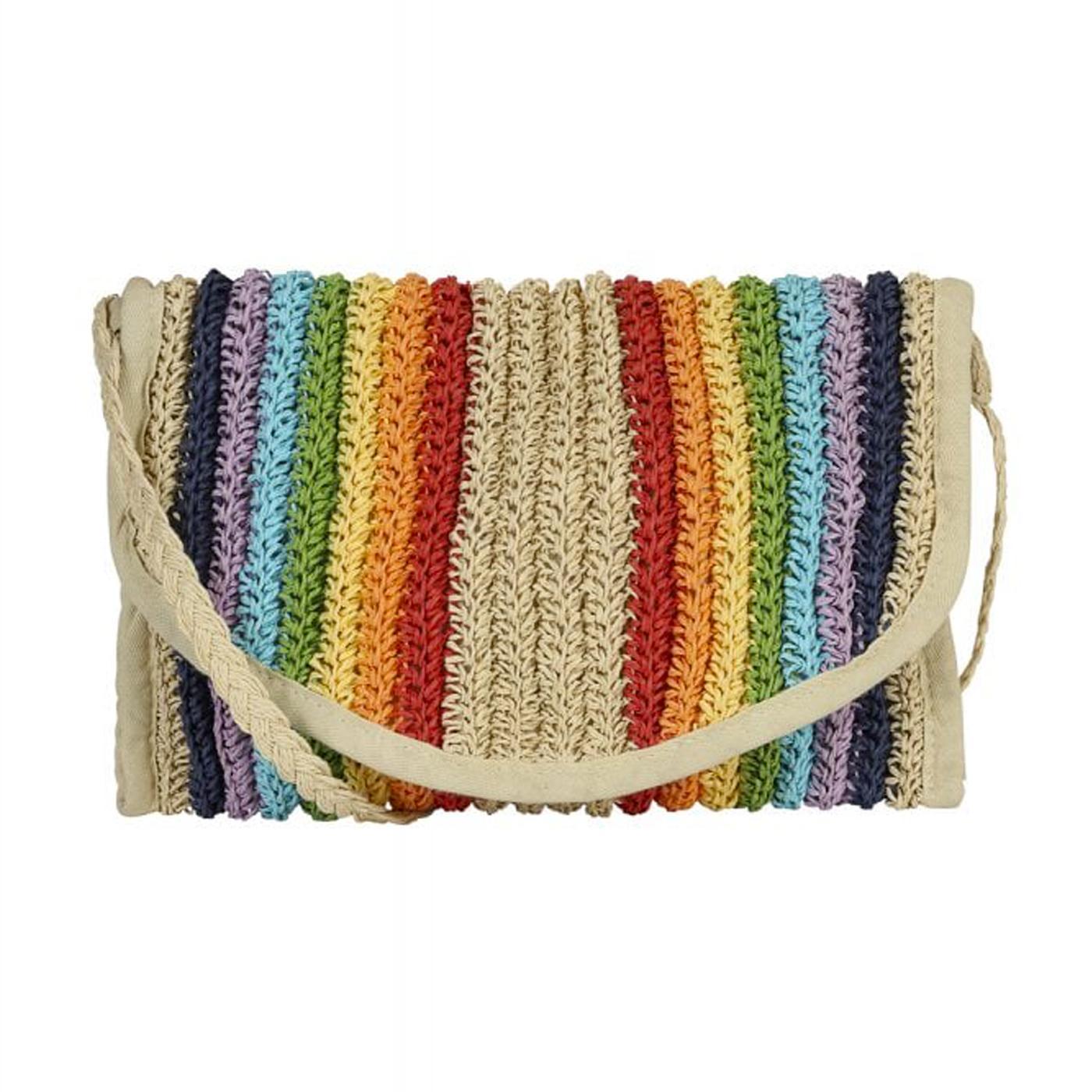 Liza COLLECTIF Vintage Woven Rainbow Summer Bag