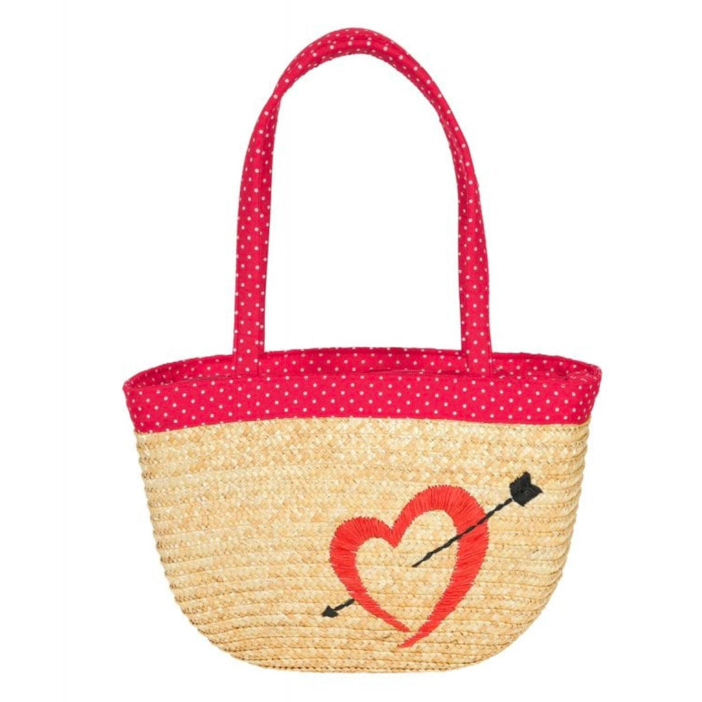 Mimi COLLECTIF Polka Dot Love Heart Straw Handbag