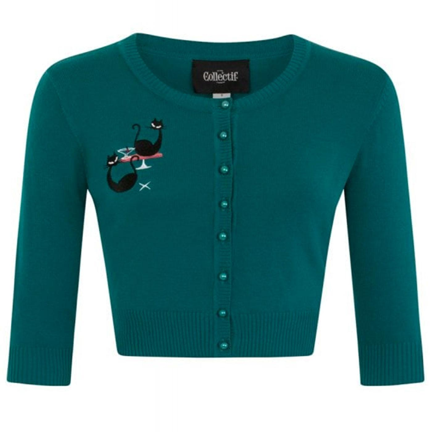 Lucy Atomic Cats COLLECTIF Cropped Cardigan Teal