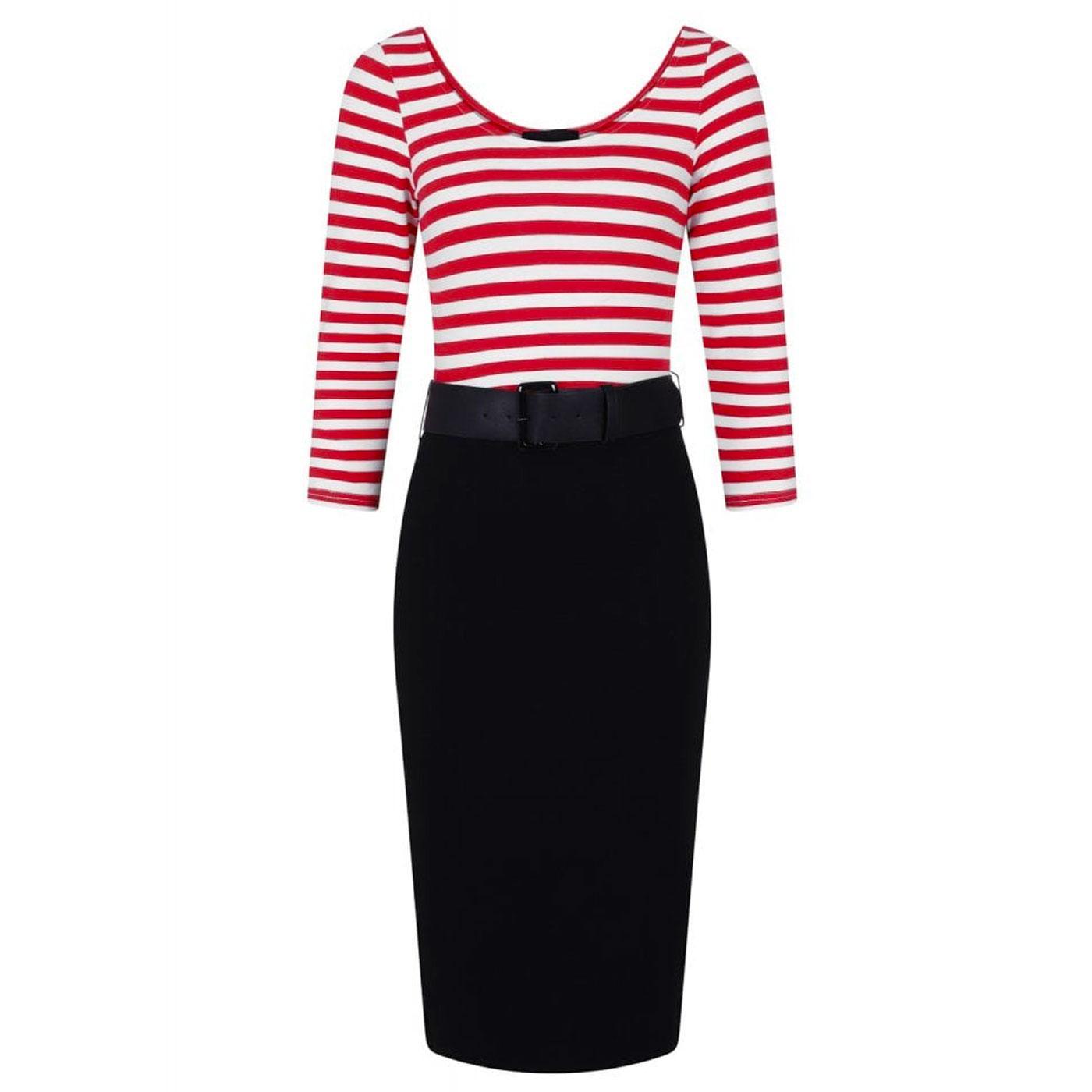 Manuela COLLECTIF Striped Pencil Dress BLACK/RED