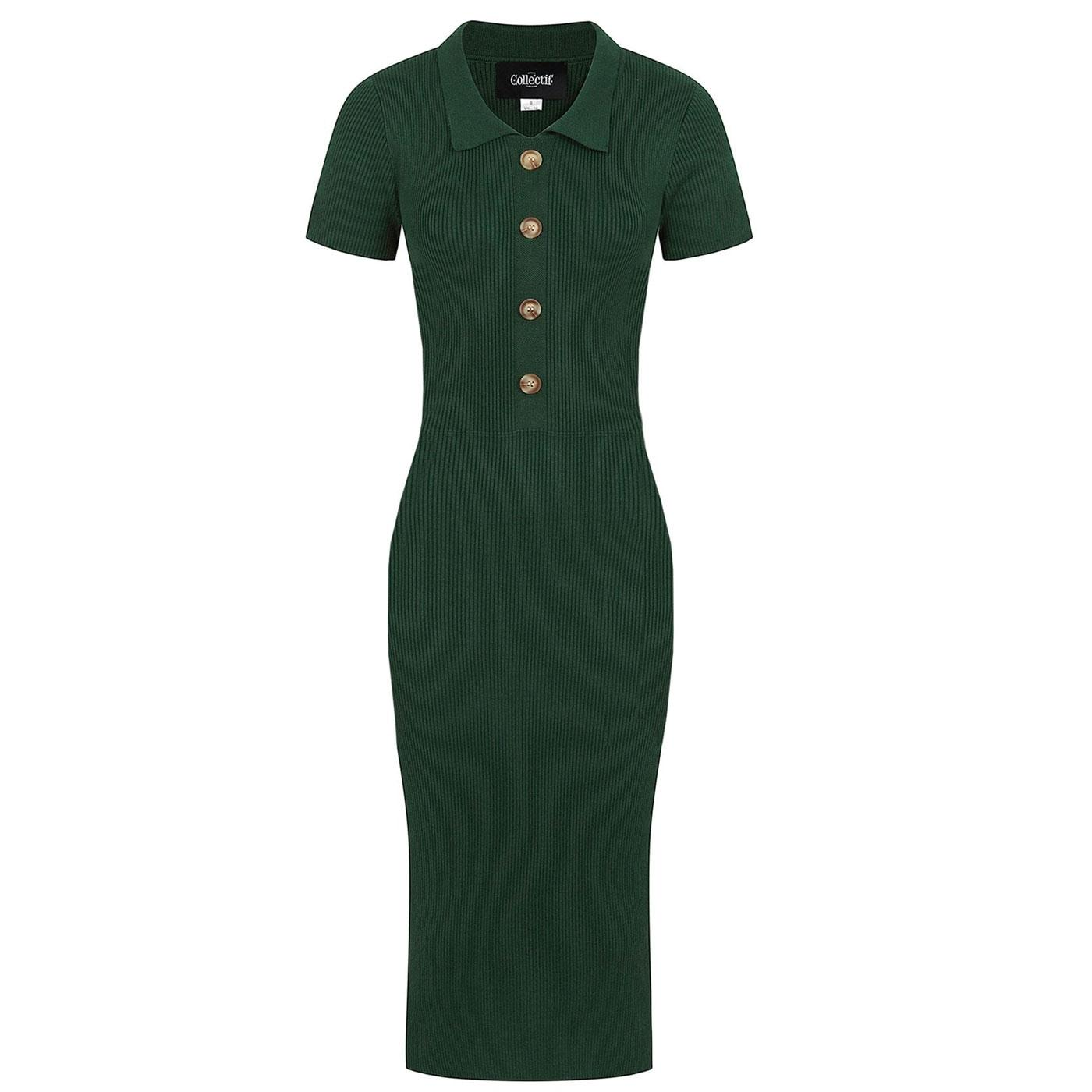Maya COLLECTIF Retro Knitted Pencil Dress in Green