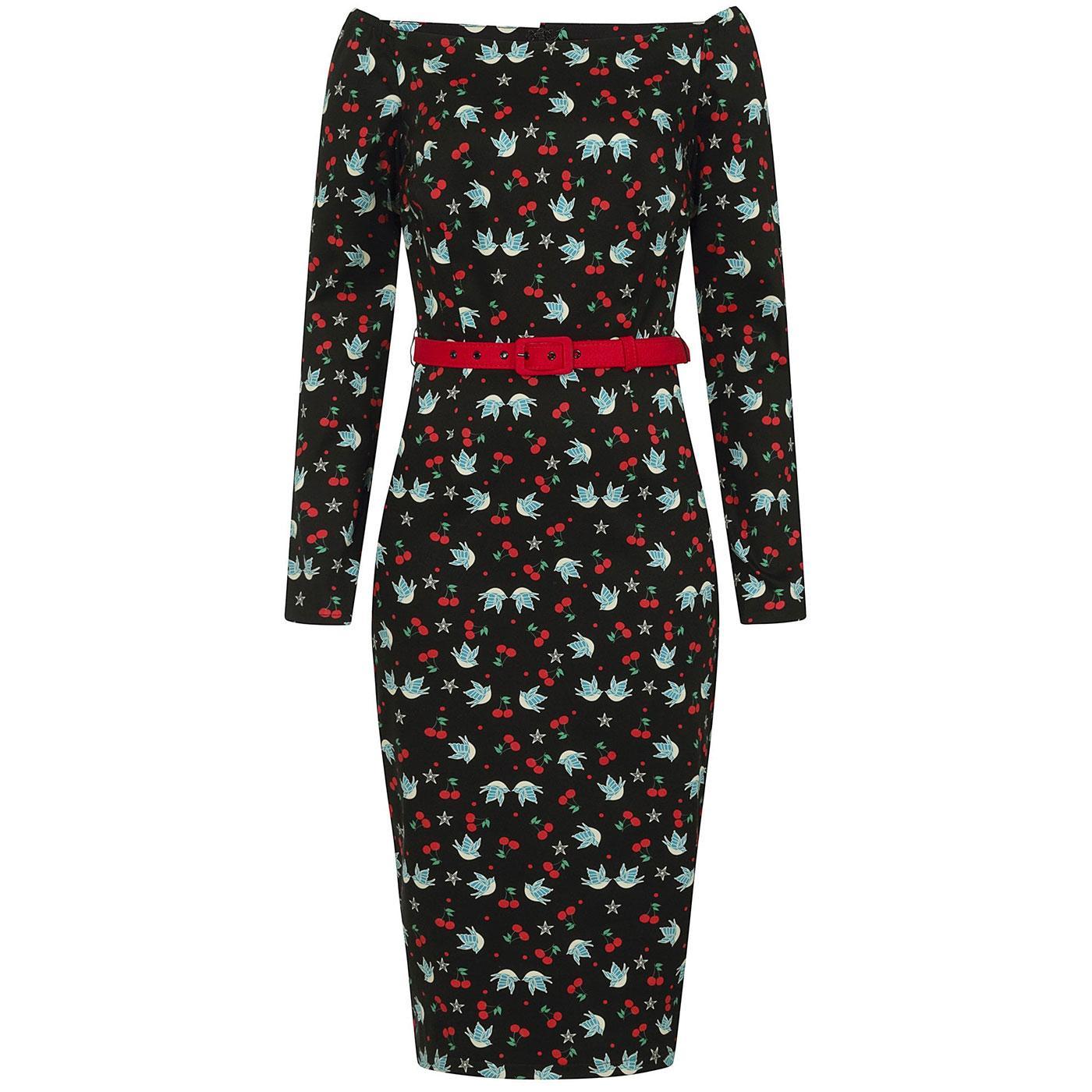 Meg COLLECTIF 50s Swallows & Cherries Pencil Dress