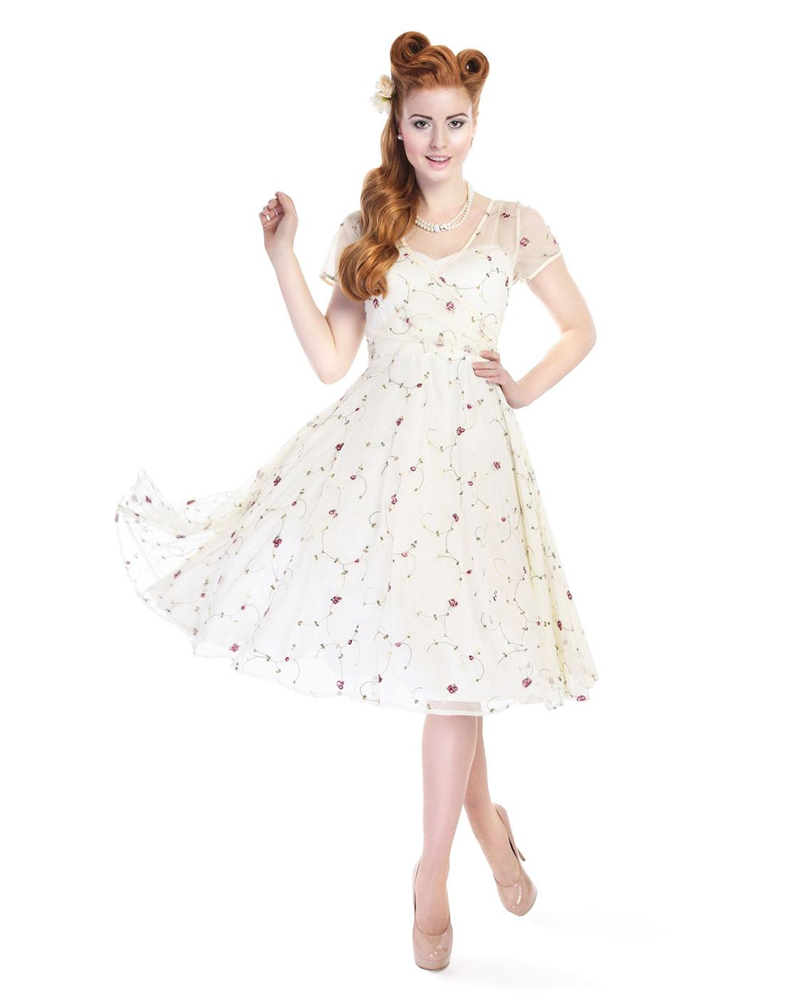 Nina COLLECTIF Floral Embroidered Swing Dress