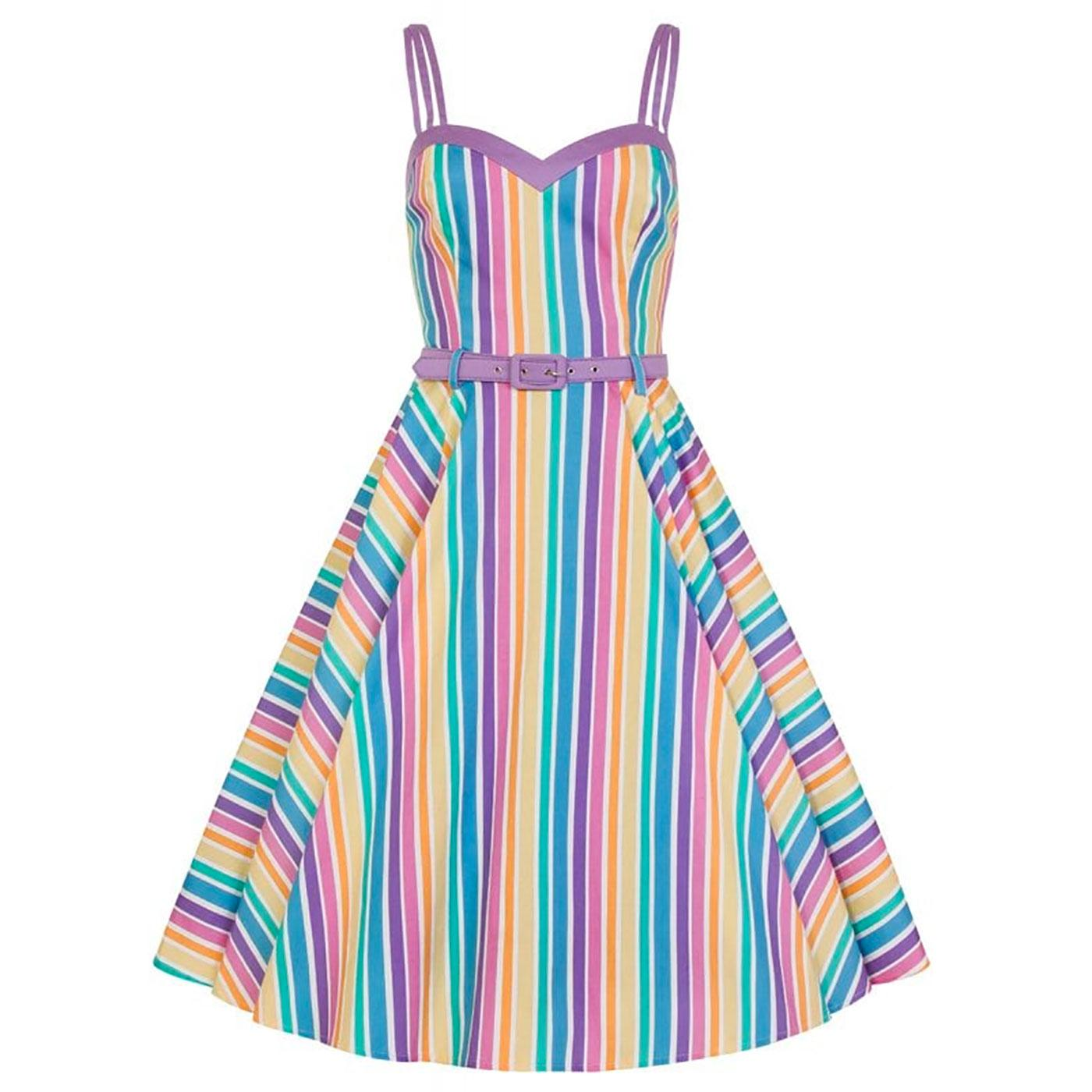 Nova COLLECTIF Retro Rainbow Stripe Swing Dress