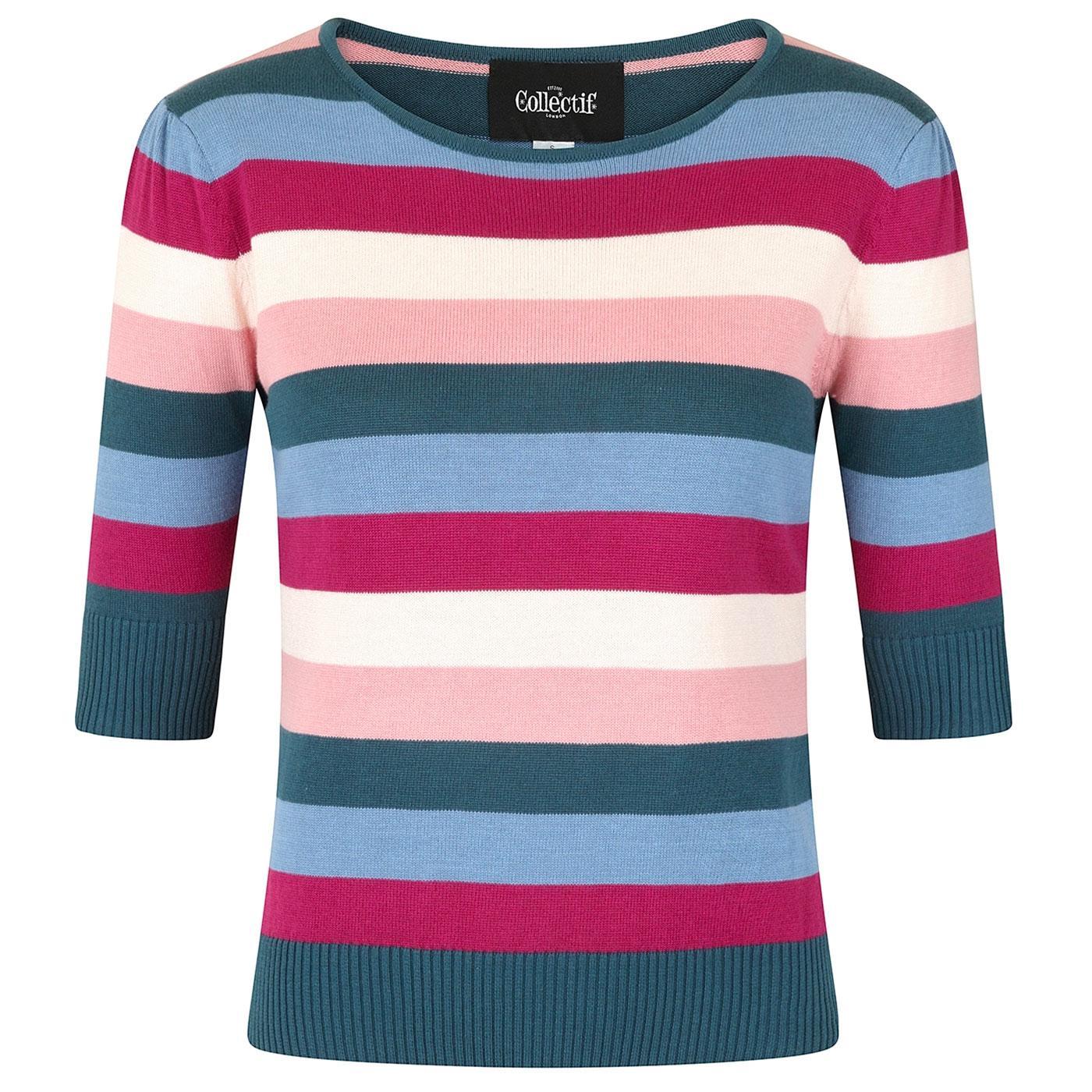 Chrissie COLLECTIF Retro Paradise Stripe Knit Top